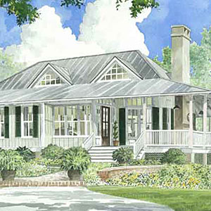 This award-winning design includes 2,400 square feet of heated space. The living area flows freely into the foyer, kitchen and dining alcove. Maximizing natural light, French doors with transoms above allow sunlight to enter the interiors for an open and spacious feeling.                             Starting at $1,800; SL-1375