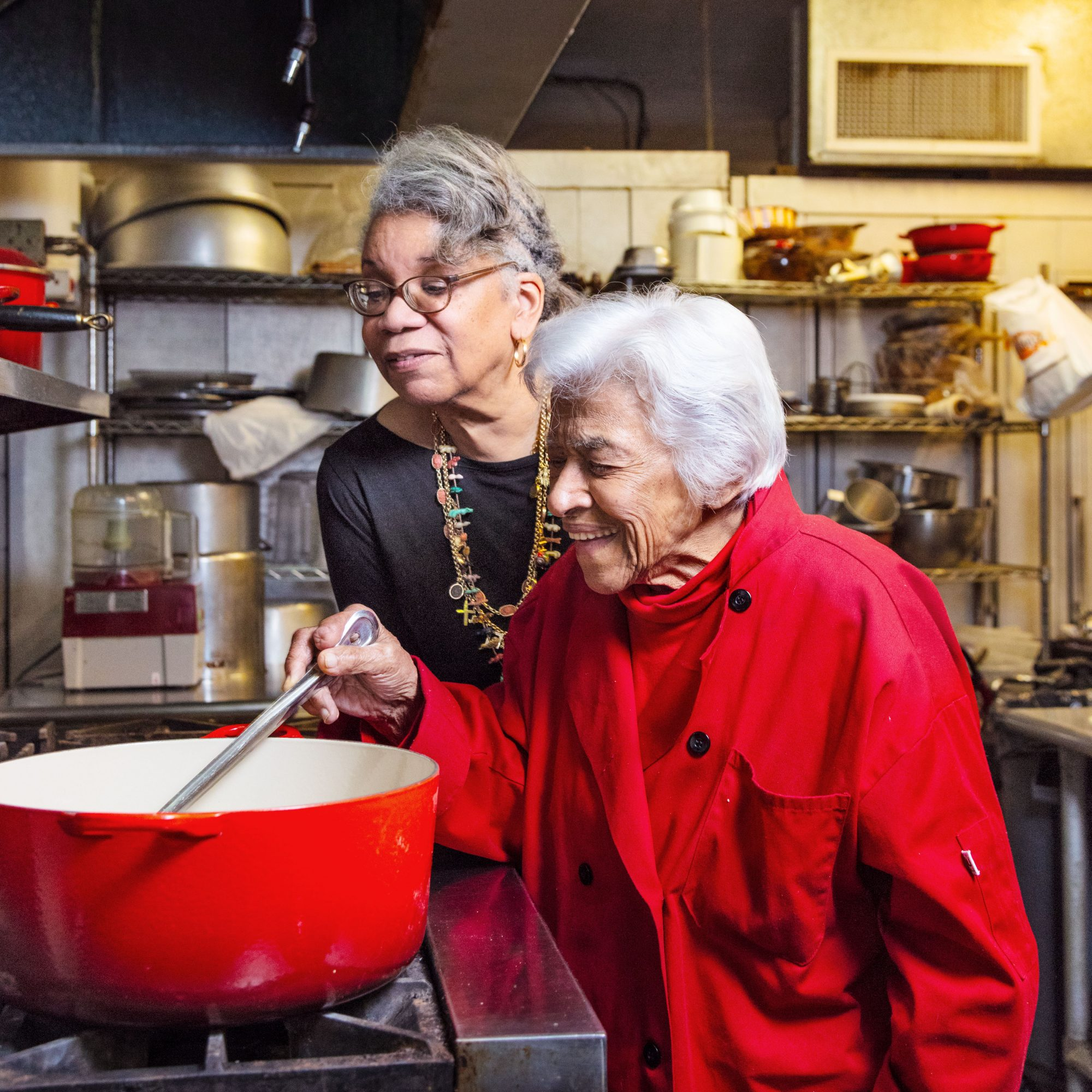 Leah Chase and Jessica B. Harris Cooking in the Kitchen