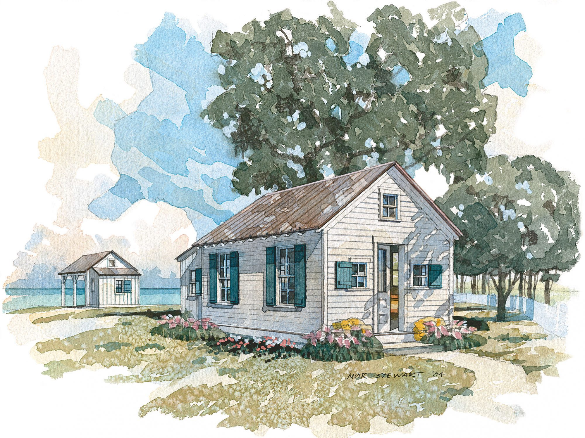 The wood siding, shuttered windows, and metal roof with exposed rafter tails create the look of a boathouse renovated as a welcoming weekend cottage. In its simpler storage version, it amply meets boat owners' needs.                             Starting at $960; SL-049
