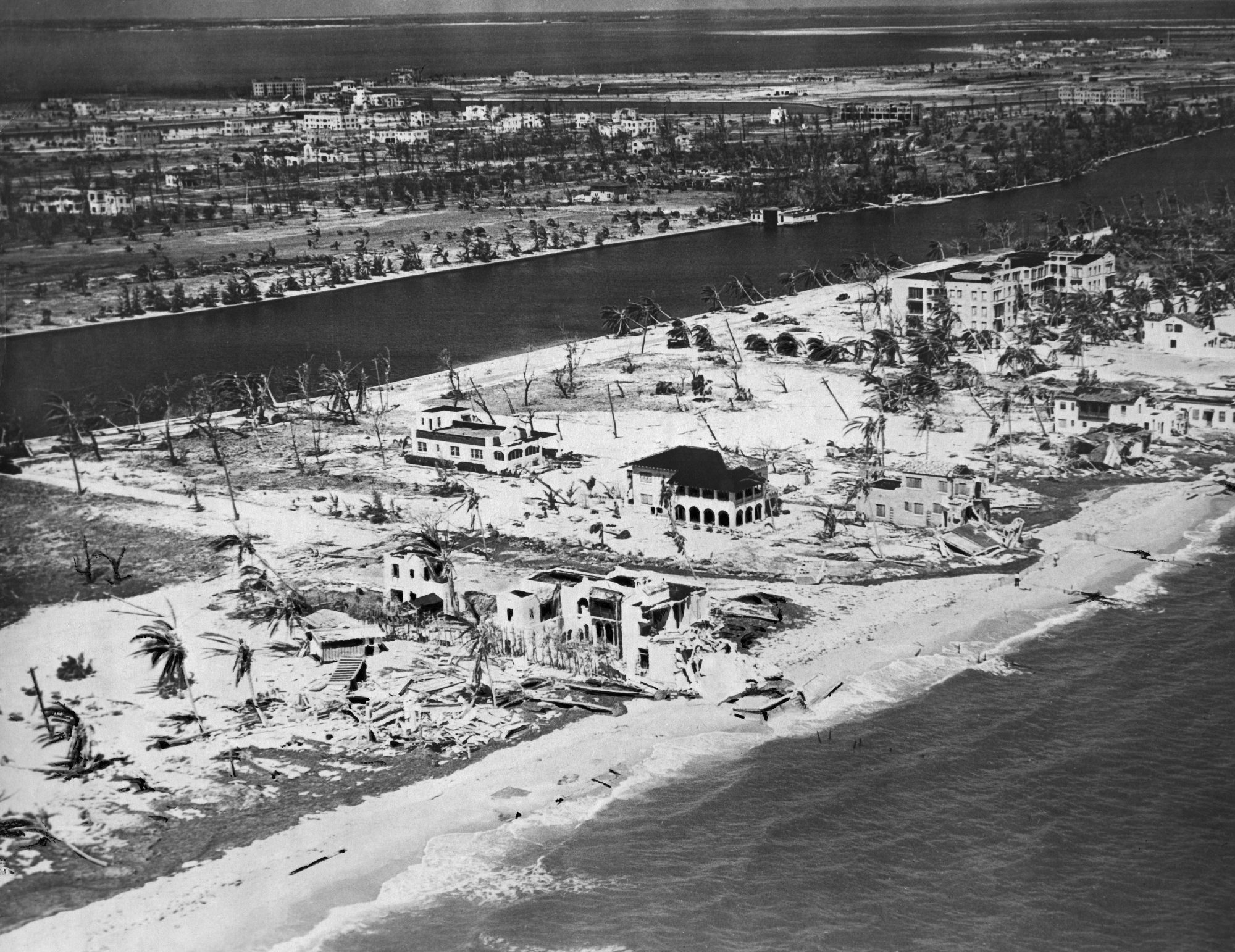 The true tragedy of the 1926 Miami Hurricane was that, as the eye passed over the city, residents thought the storm was over and left their shelters. The worst part of the hurricane, with 10-foot storm surge, was yet to come. Inland, high winds blew water from Lake Okeechobee toward the shore and the town of Moore Haven, which was almost completely flooded and remained so for weeks after the storm. Damages were estimated at $105 million—more than $1 trillion in today's dollars.
