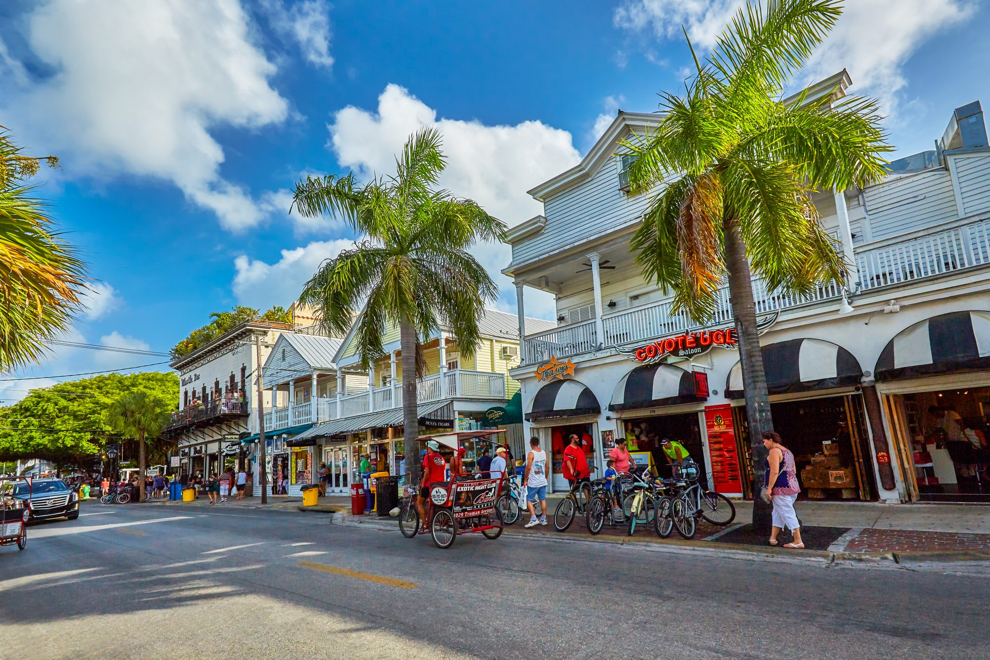 There's no doubt that Duval Street occupies the heart of all the action in Key West. Stretching from Mallory Square to the Southernmost Point, this main drag is lined with outdoor cafes, funky boutiques, art galleries, and some of the most famous bars and saloons in the country.