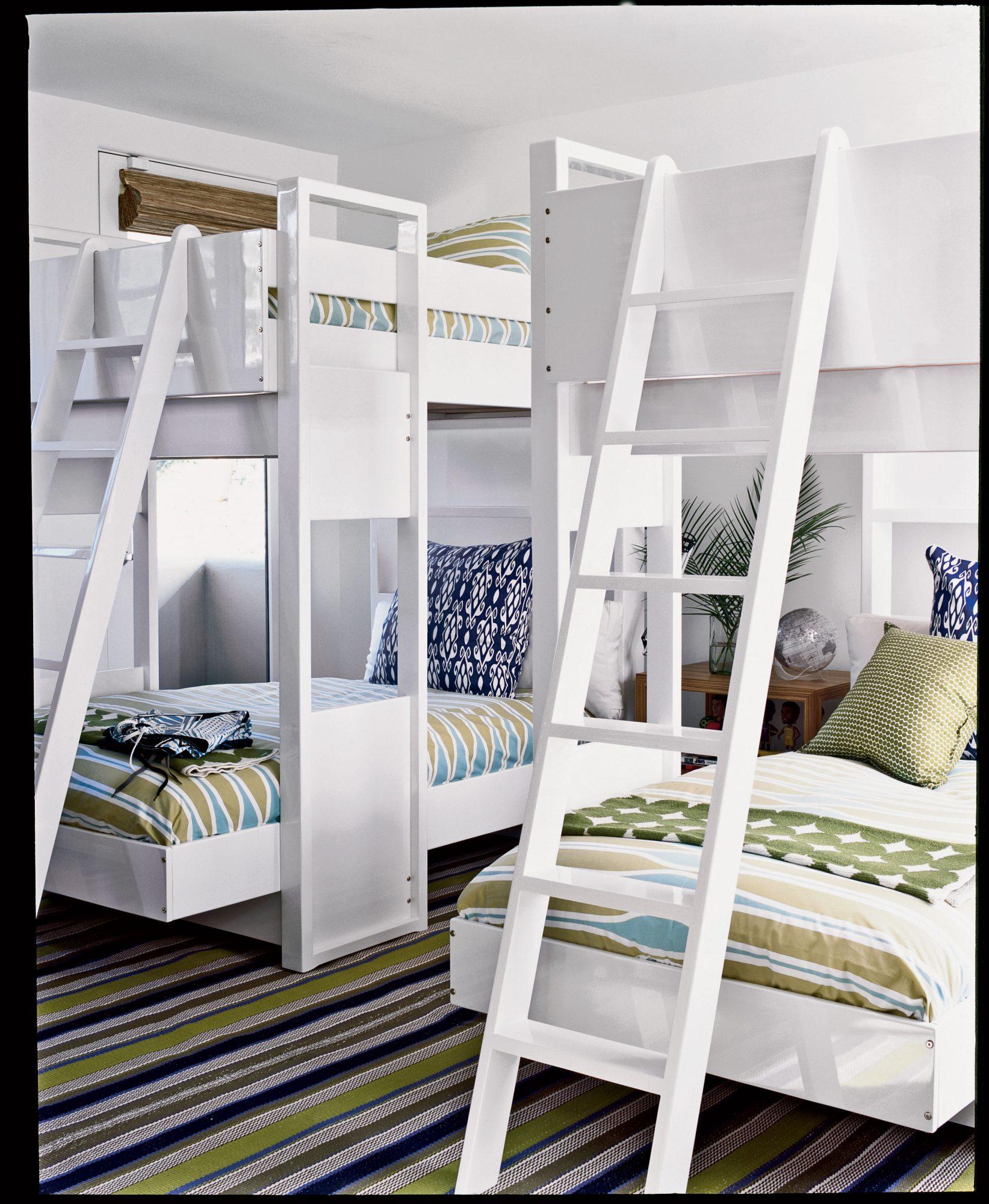 Compromise with the kids by creating an upscale bunkroom with the sophisticated colors and prints you love combined with the fun beds they'll love. This modern update on the classic bunk bed style is more sculptural, yet sturdy and compact with plenty of room for sleepovers.
