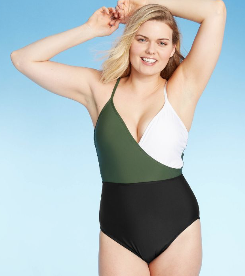 Kona Sol Women's Color Block Wrap High Coverage One Piece Swimsuit in Green