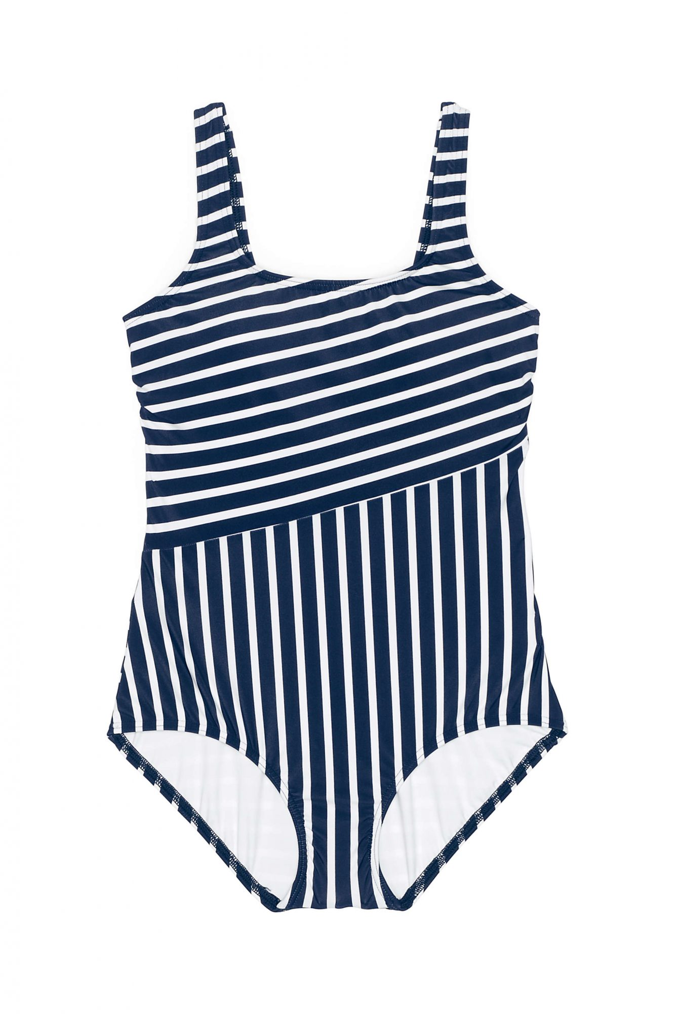 Lands End Scoop Neck Sporty One Piece Navy White