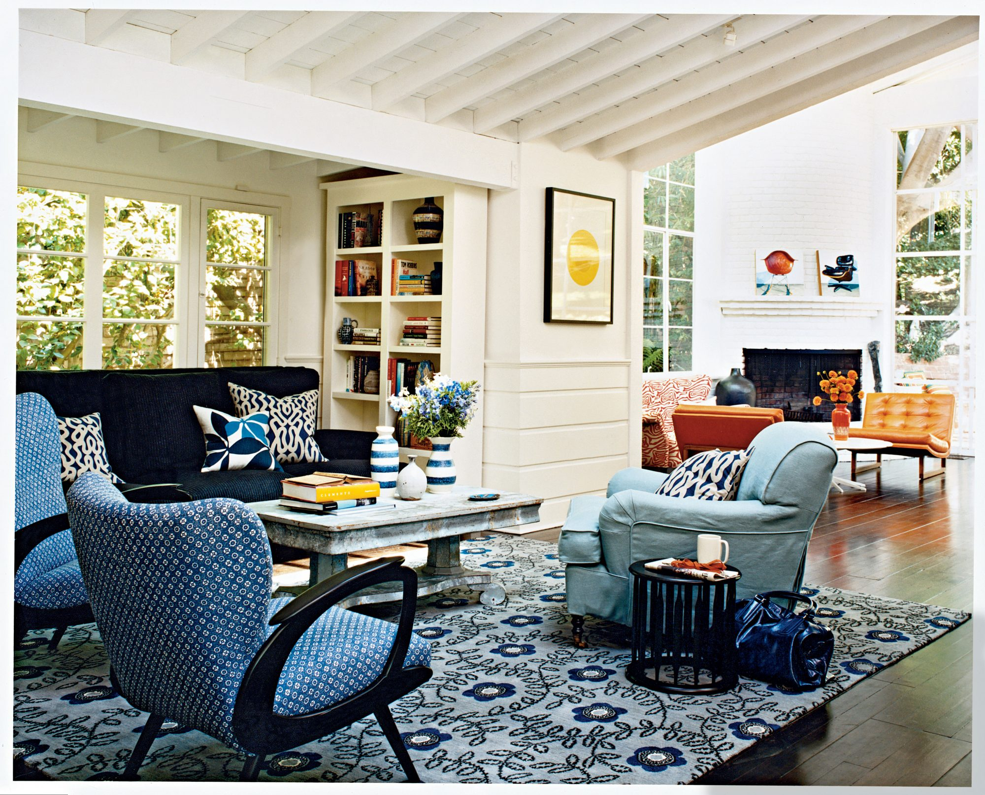 When using a single color, stick with white walls and ceilings to keep from overdoing it. Vary the patterns and hues as well to prevent the look from being too monochromatic.