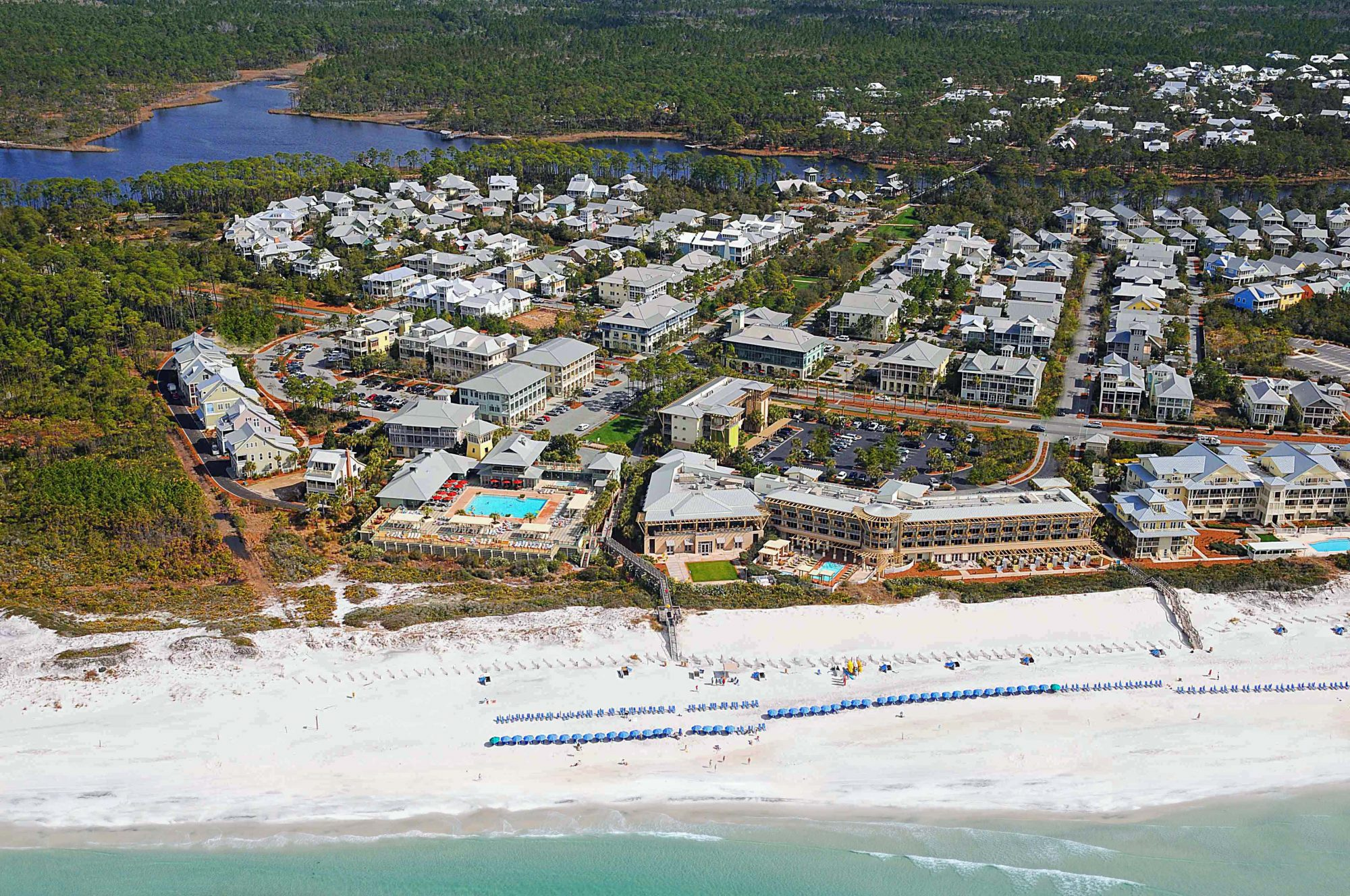 One of the newer communities along Florida's idyllic 30A, WaterColor is anchored by an inn and resort of the same name, with a prime waterfront spot on the Gulf and a slew of activities to entertain beach-goers of all ages. Tucked between Seaside and Gray
