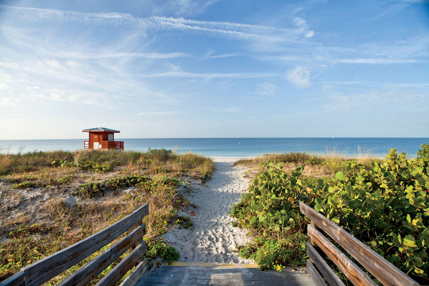 It probably won't come as a surprise to hear that Florida did exceptionally well in the retirement rankings across the board. Sarasota, with its pristine Gulf beaches, cracked its way into the top 10 beach towns thanks to its high number of doctors' offices (12.4) and recreation centers (3) per 1,000 people.