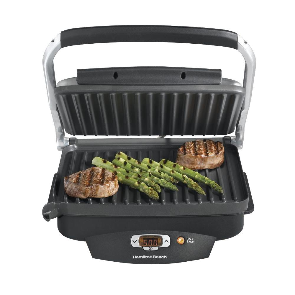 Steak Lover's 100 sq. in. Black Indoor Grill with Lid by Hamilton Beach
