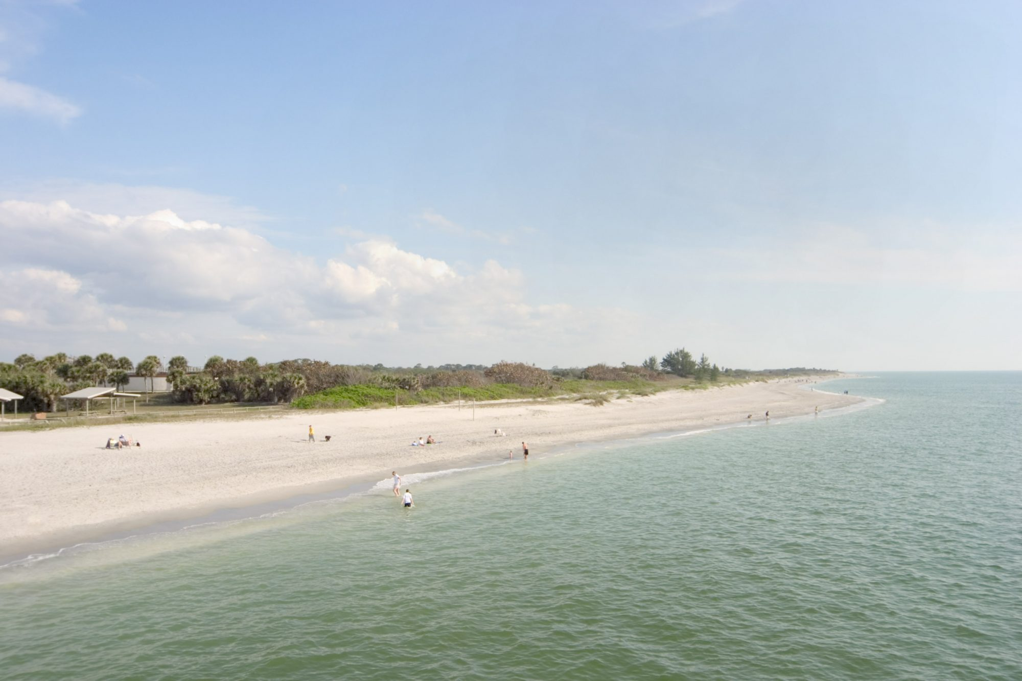 Coast of Gulf of Mexico from Venice Public Pier in Venice, Florida