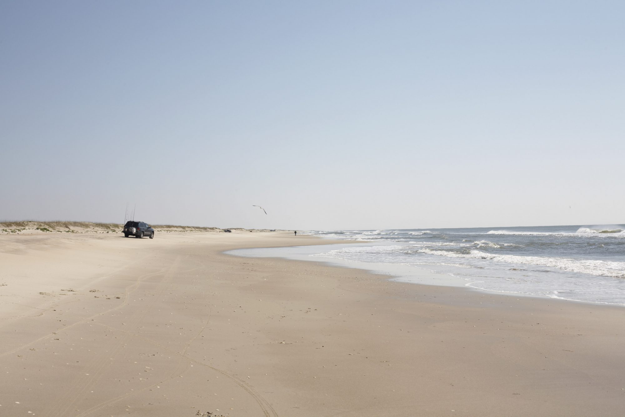 Long stretches of shoreline between Carova, North Carolina, and the Hatteras Inlet — plus parts of Ocracoke Island — are open to drivers with off-road vehicle permits either seasonally or year-round. During the winter, you can even drive at night on the beaches of the national seashore, where beach bonfires are permitted. The northern end of the Outer Banks is especially remote.