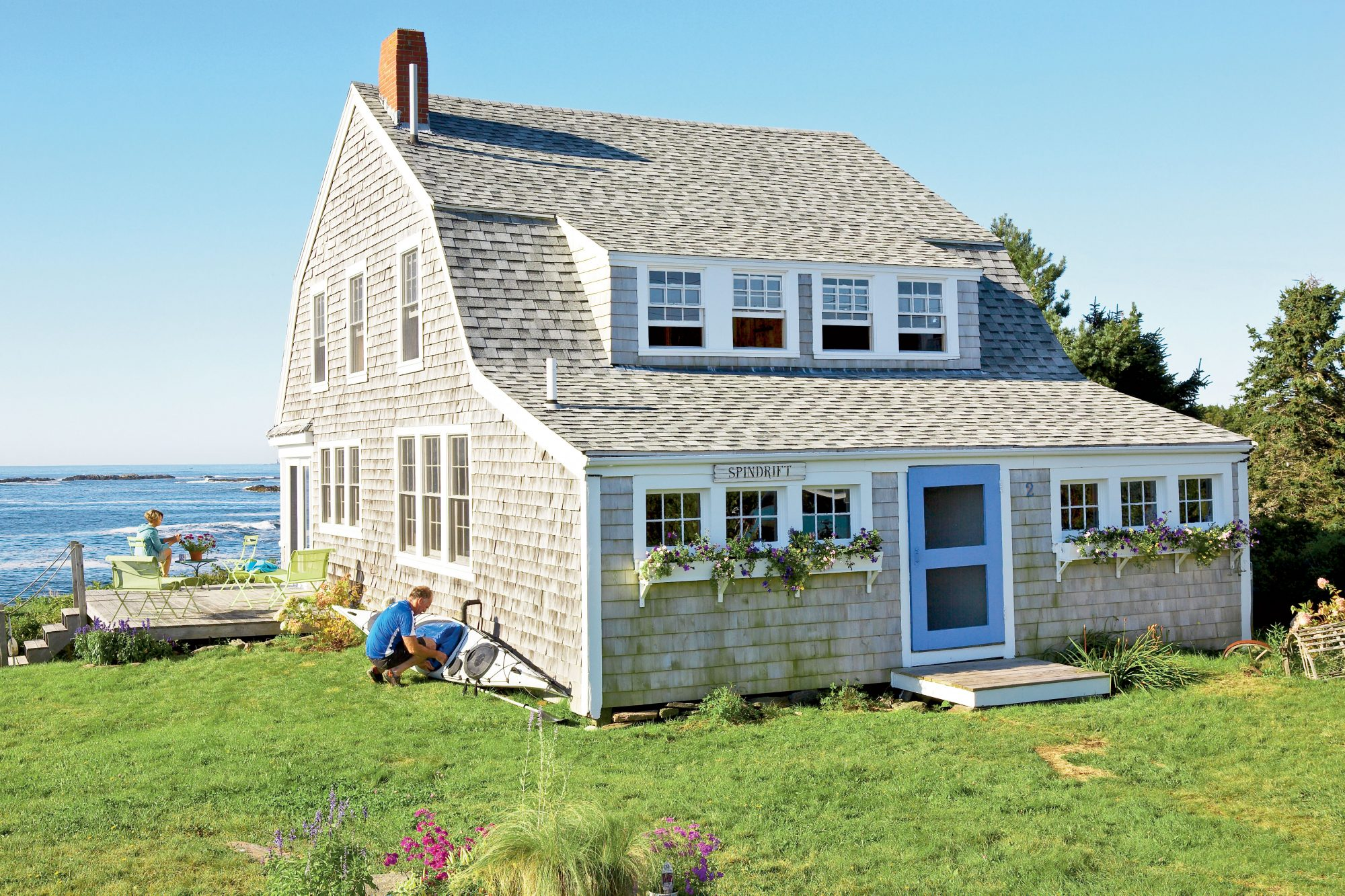 Hal and Mary Quayle fell in love with this 100-year-old cottage on Bailey Island, Maine, and after some simple touch-ups, turned it into a cozy hideaway with thrilling views. They embraced the cottage's quirky character and celebrated its aged-to-perfection charm.