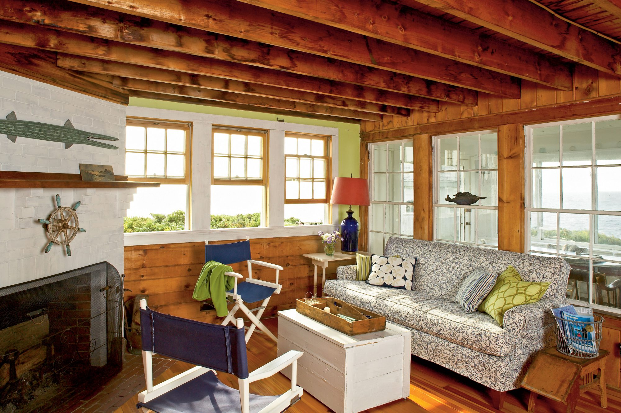 A hodgepodge of 20th century furniture came with the house, so the homeowners spent a lot of time rearranging and incorporating some of their own pieces while still preserving the Old Maine feel.