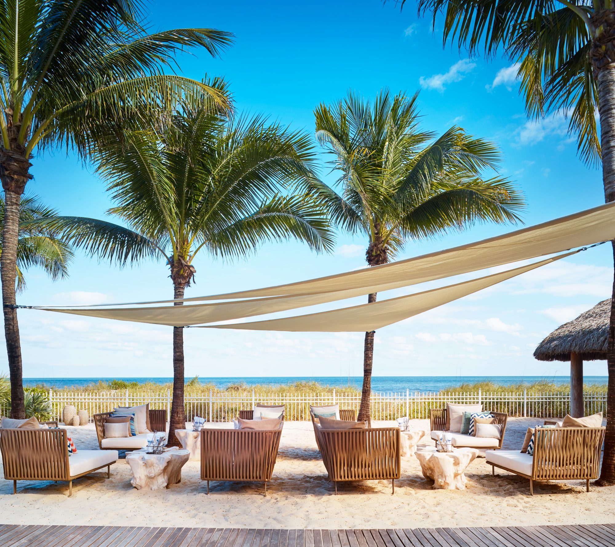 While the rest of the beaches in Miami tend to attract crowds, the private beach at The Ritz-Carlton in Key Biscayne feels like a world away from the bright lights of the Magic City. Families rave about the resort's Ritz Kids program that features coastal activities from Jean-Michel Cousteau's Ocean Futures Society. Adults will love the impressive tequila selection at RUMBAR, margaritas at the Mexican-style Cantina Beach, champagne and rosé at Dune, and classic cocktails with a Floridian twist at Lightkeepers. 455 Grand Bay Drive, Key Biscayne, FL 33149