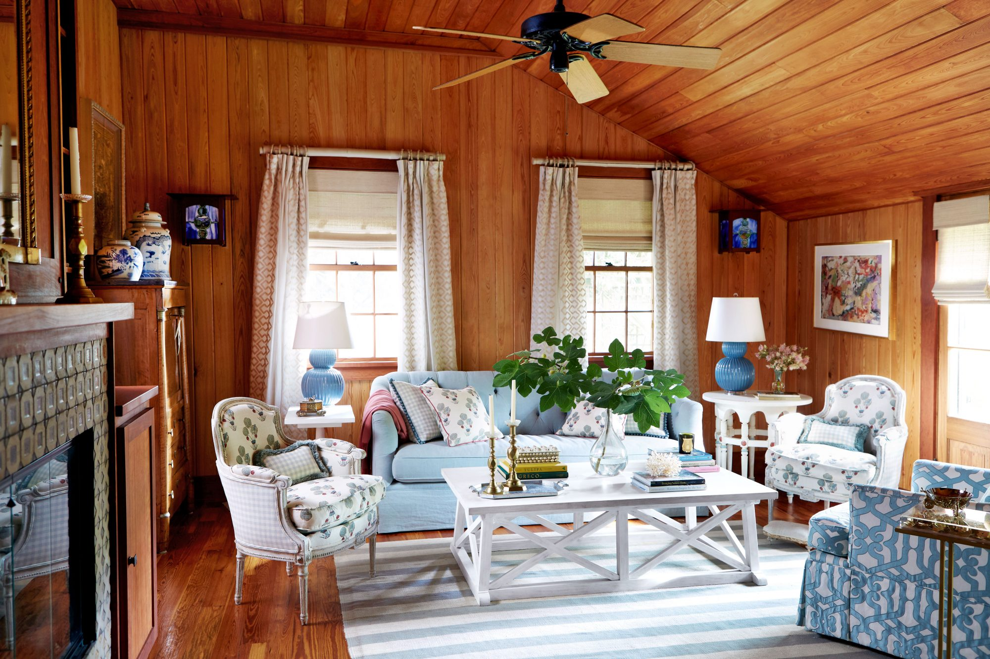 Wood-clad Living Room with White and Blue Furniture