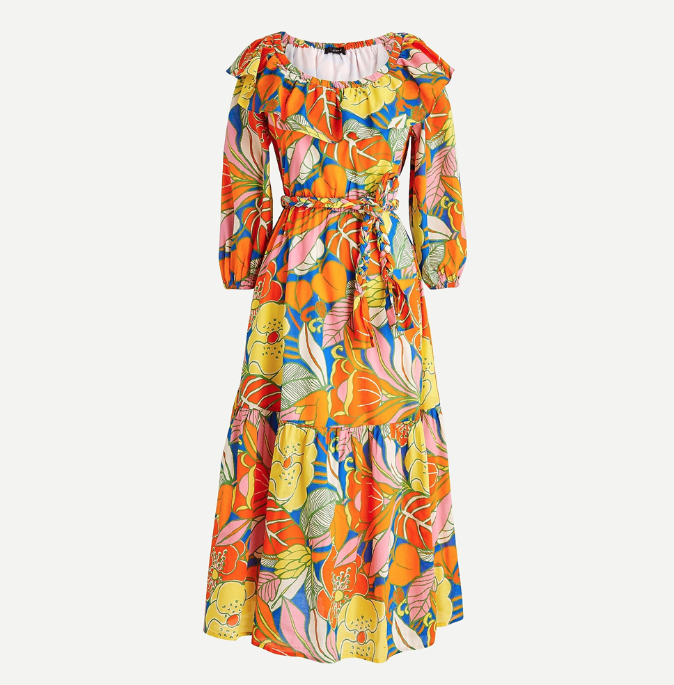 Belted Dress in Tropical Floral