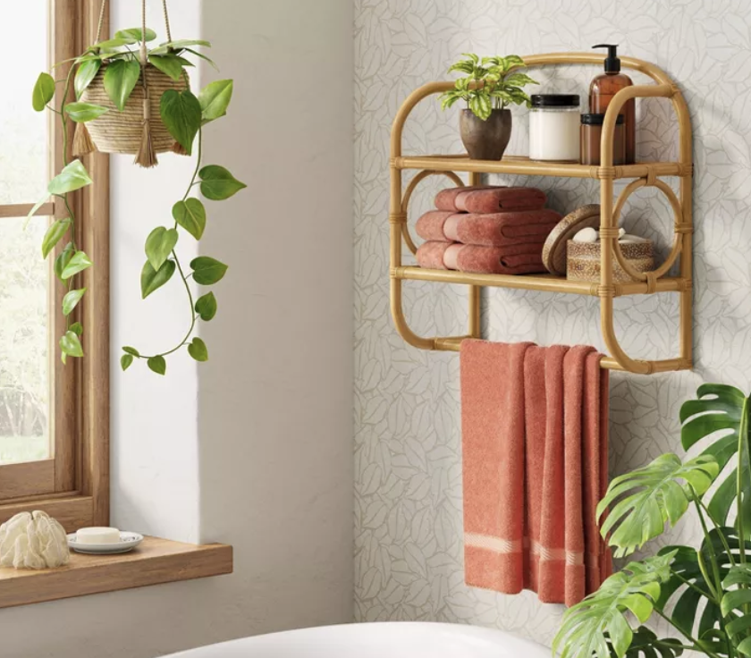 Opalhouse Rattan Wall Bath Shelf