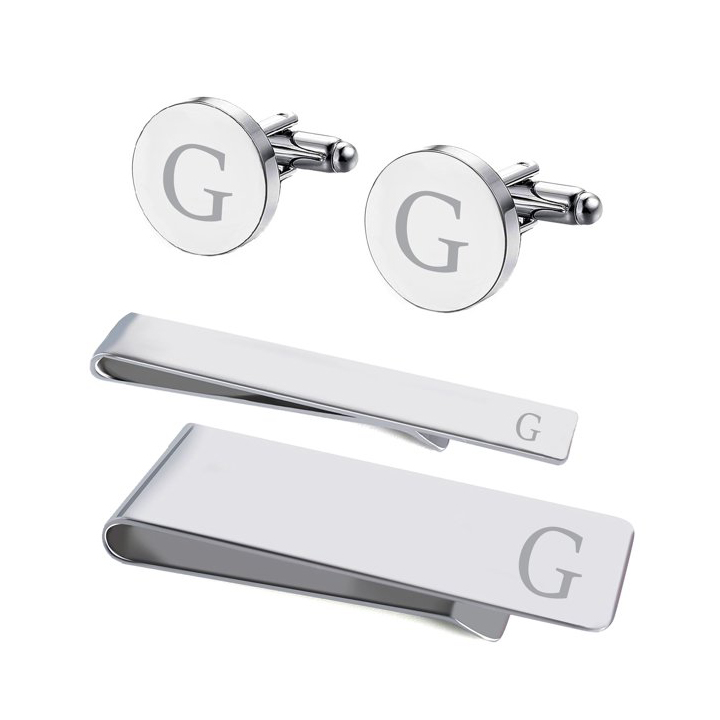 Personalized Cufflinks and Tie Bar