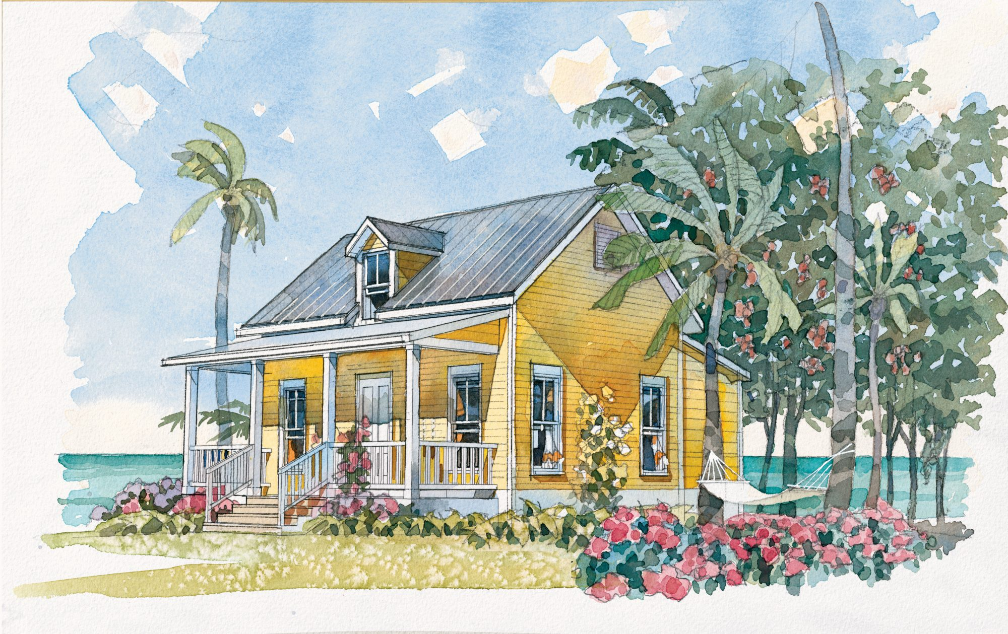 At 484 square feet, this sweet little cottage, with its charming gabled roof and gracious front porch, is ideal for an oceanfront retreat for two. The plan features a living room, kitchen with a peninsula and plenty counter space (plus a pantry), and a ma