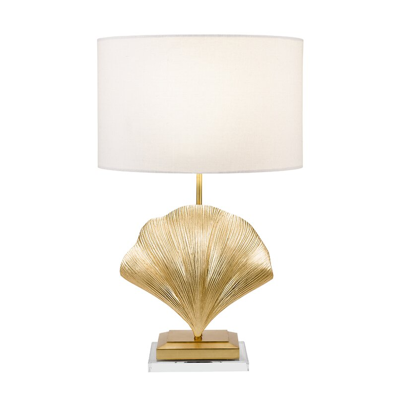 Gold Table Lamp with Shell Base