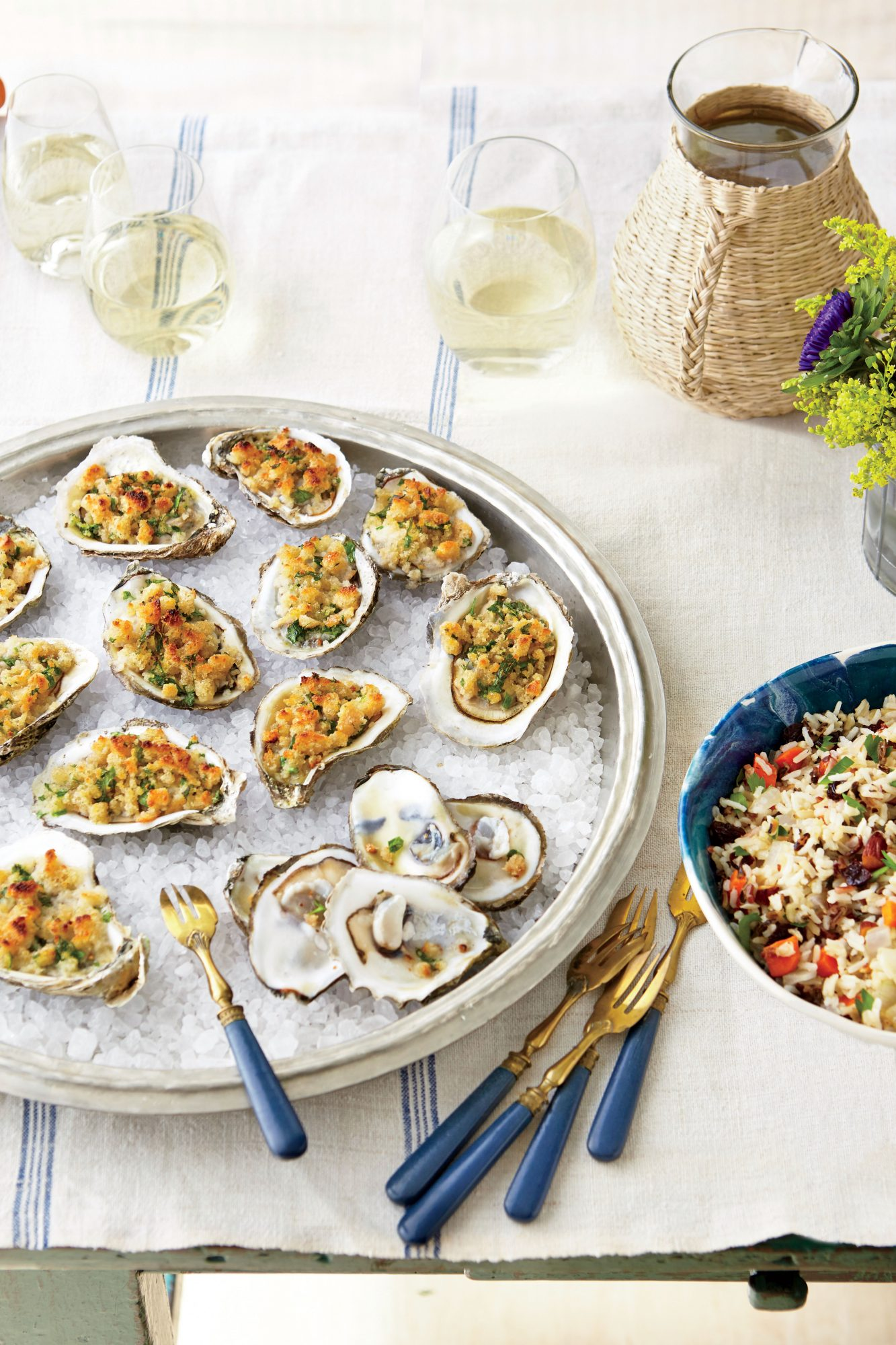 "Broiled Oysters with Buttery ""Dressing"" Topping"