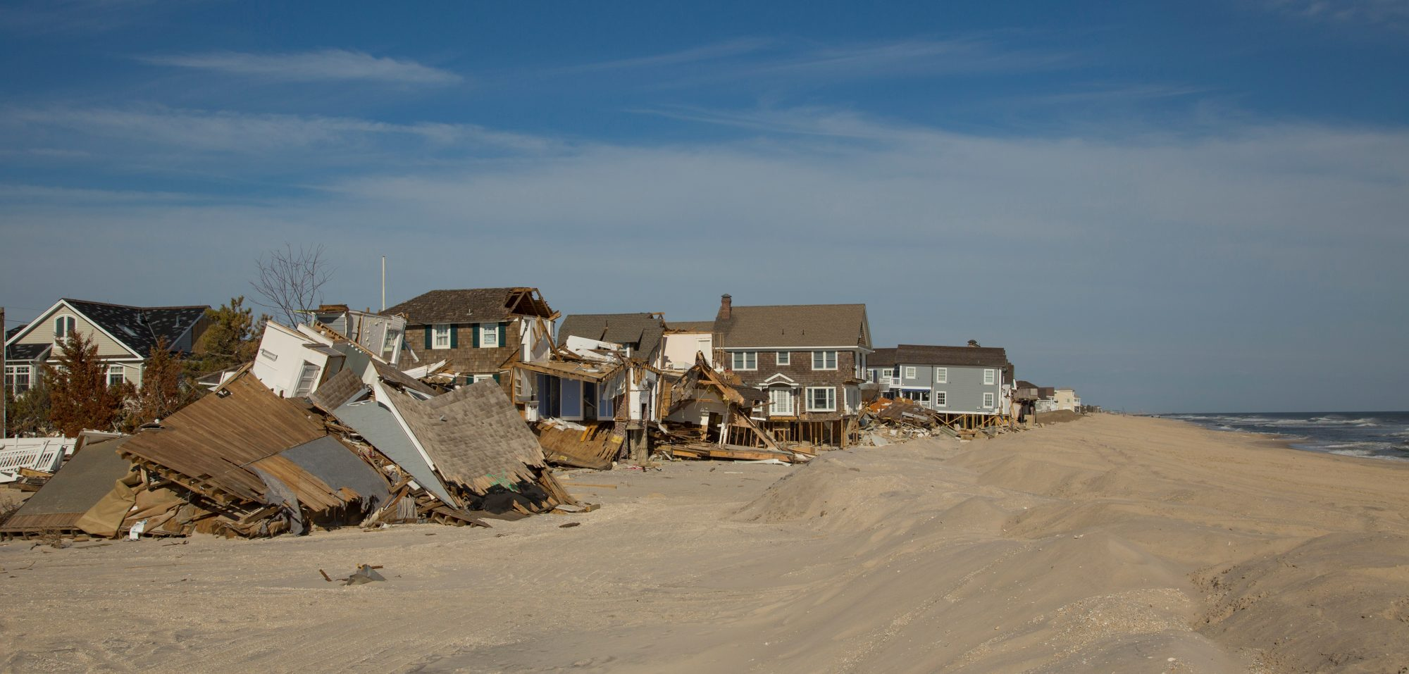 Hurricane Sandy, also known as Superstorm Sandy, tore across the northeastern United States in late October 2012, causing widespread damage along the coast. Though it had weakened to a post-tropical cyclone before it made landfall in New Jersey, its storm surges and high winds caused many deaths and billions of dollars in damages. Cost: $50 billion