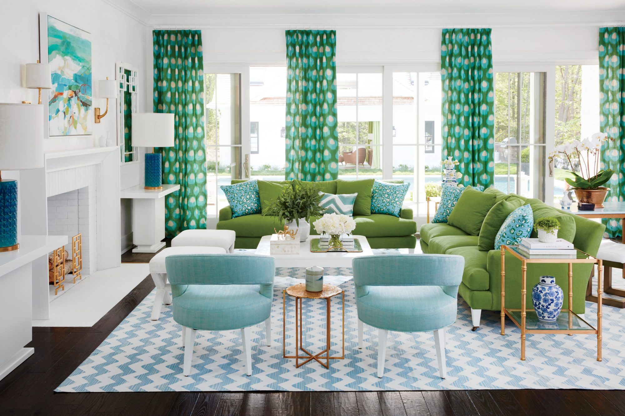 "Blue and green have a natural soulmate thing going. ""They make a good pair because we're used to seeing the colors of grass and sky together, and it always feels optimistic, energetic,"" Braff says. ""Plus, it's a good combo for going all in on color—famili"