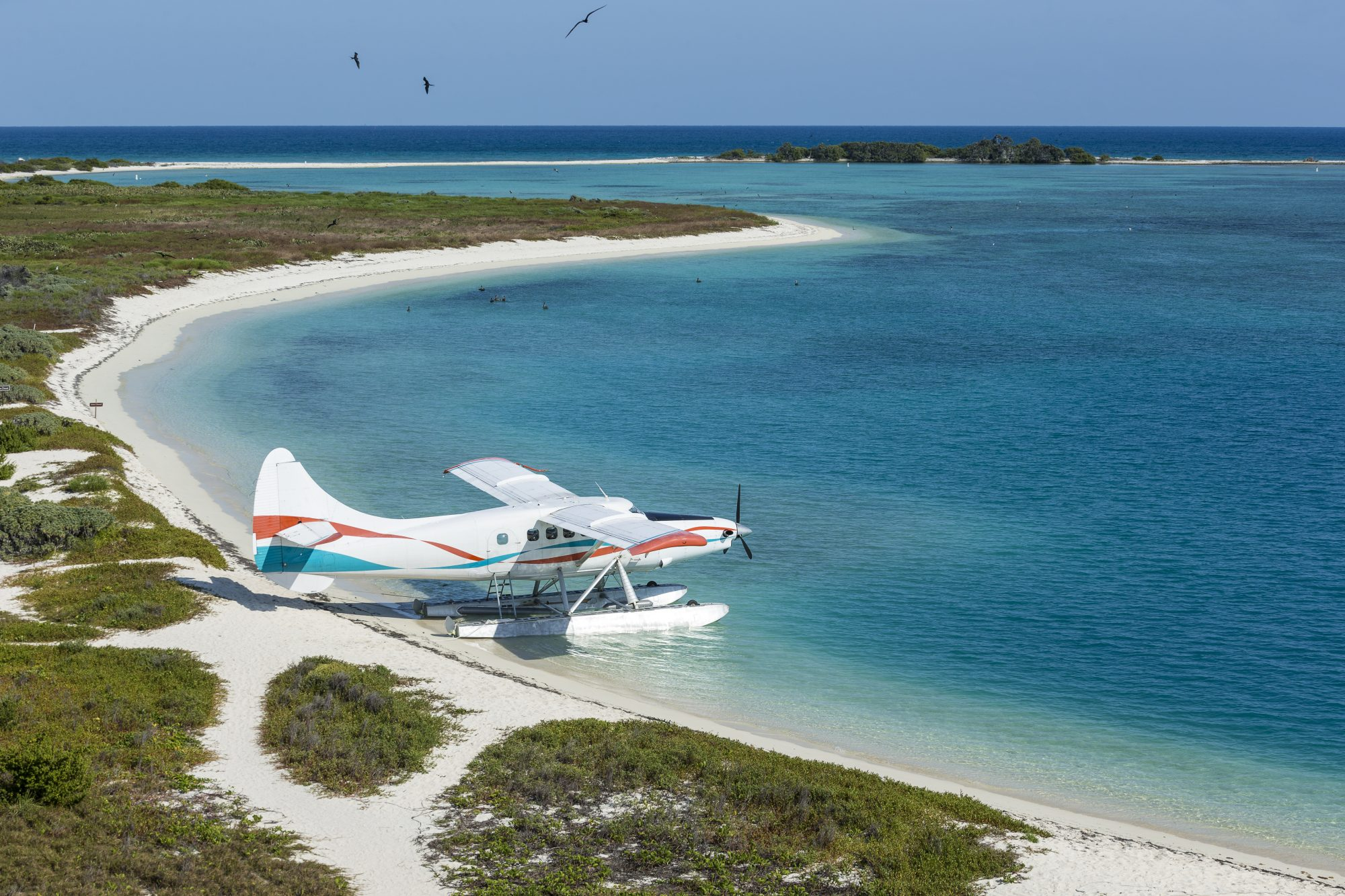 An aerial view of seaplane beach from Fort Jefferson, Dry Tortugas, Florida.