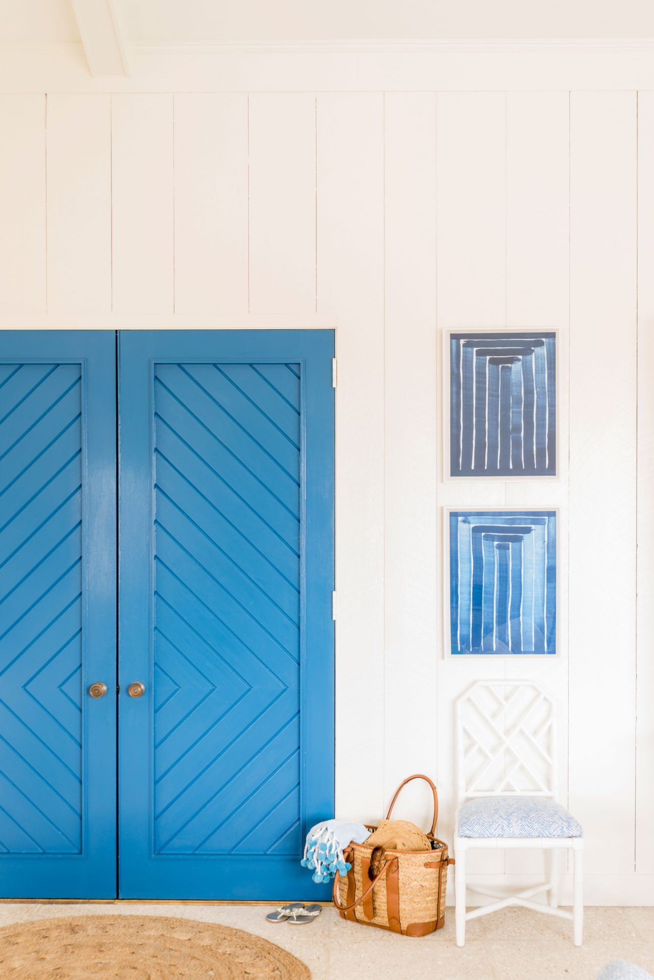 "Get the Blues: Blueberry by Benjamin Moore                                       The sea's preeminent hue shines on its own, but when it's paired with its super soul mate (white!), blue really soars. Designer Meg Braff spotlighted the dynamic duo by painting the patterned double doors in this Sea Island, Georgia, home an intense, saturated shade of blue. ""The contrast with the entry's bright white walls is beautiful, almost Mediterranean in style,"" notes Braff."