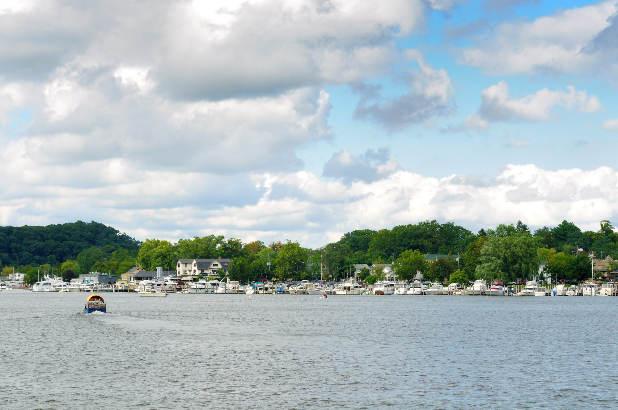 """Boats at the little town of Saugatuck, Michigan, seen from the water"""