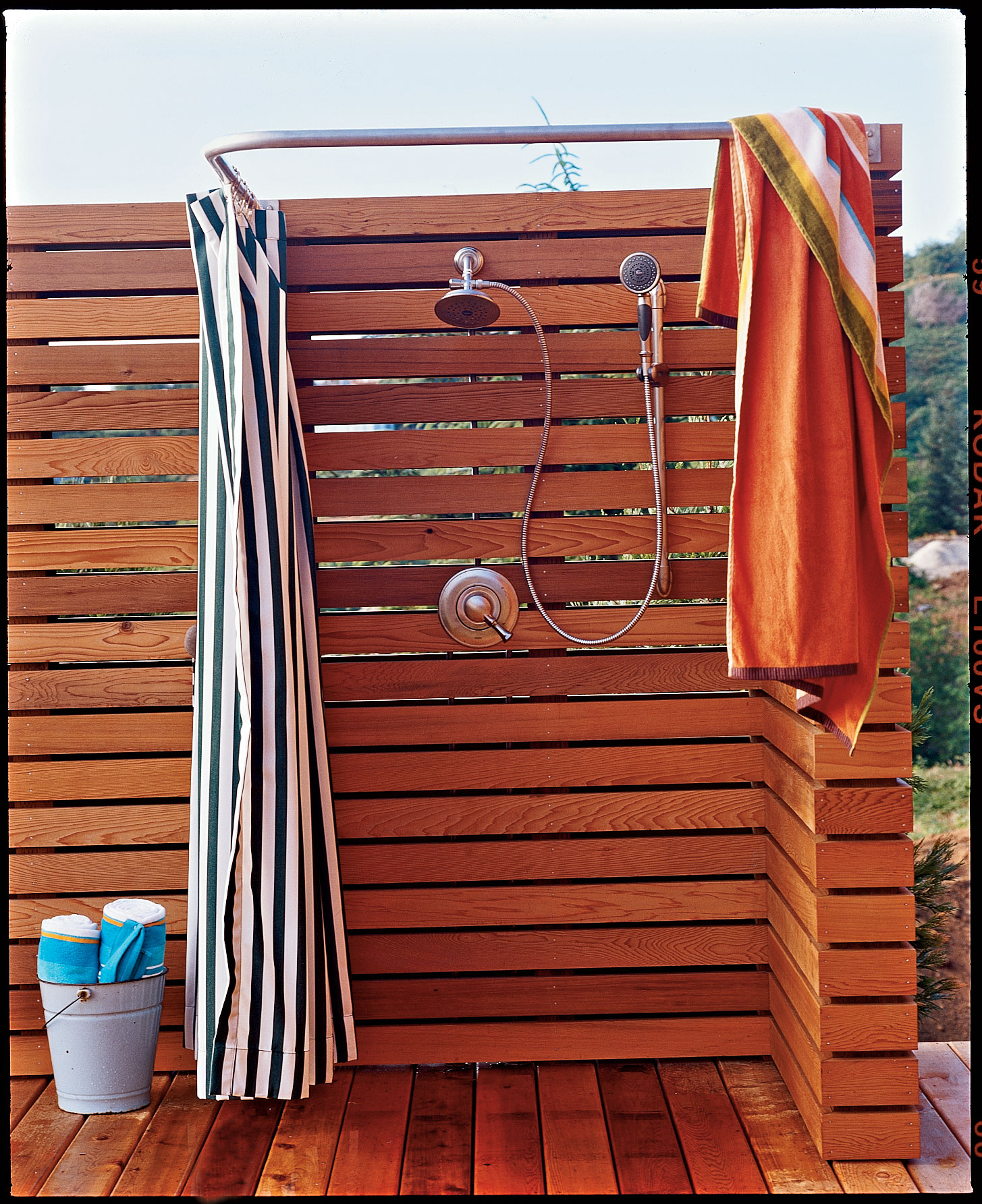 Modern, Wood-Slatted Outdoor Shower Wall
