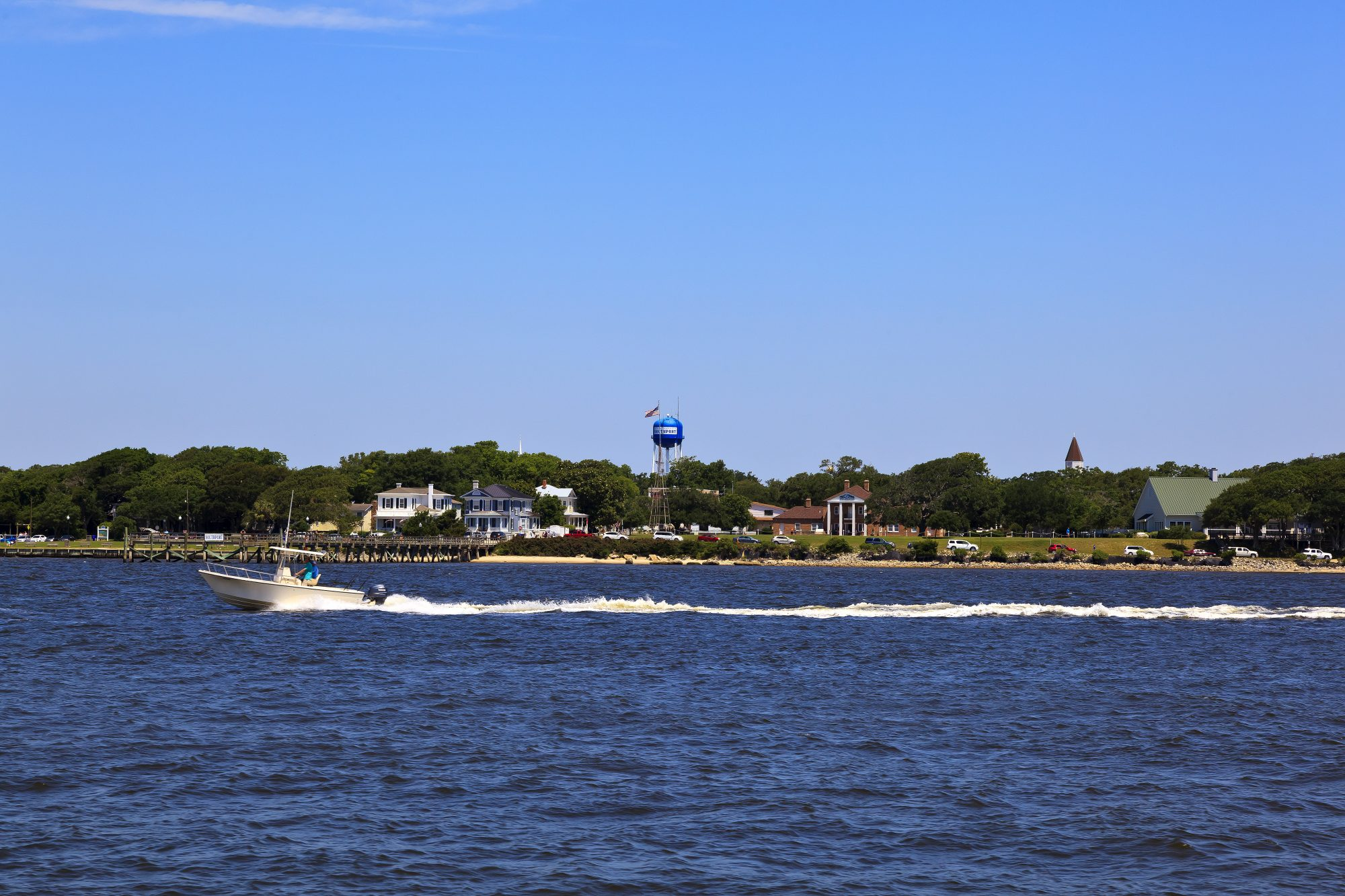 View of the Southport harbor and town from a ferry boat, North Carolina