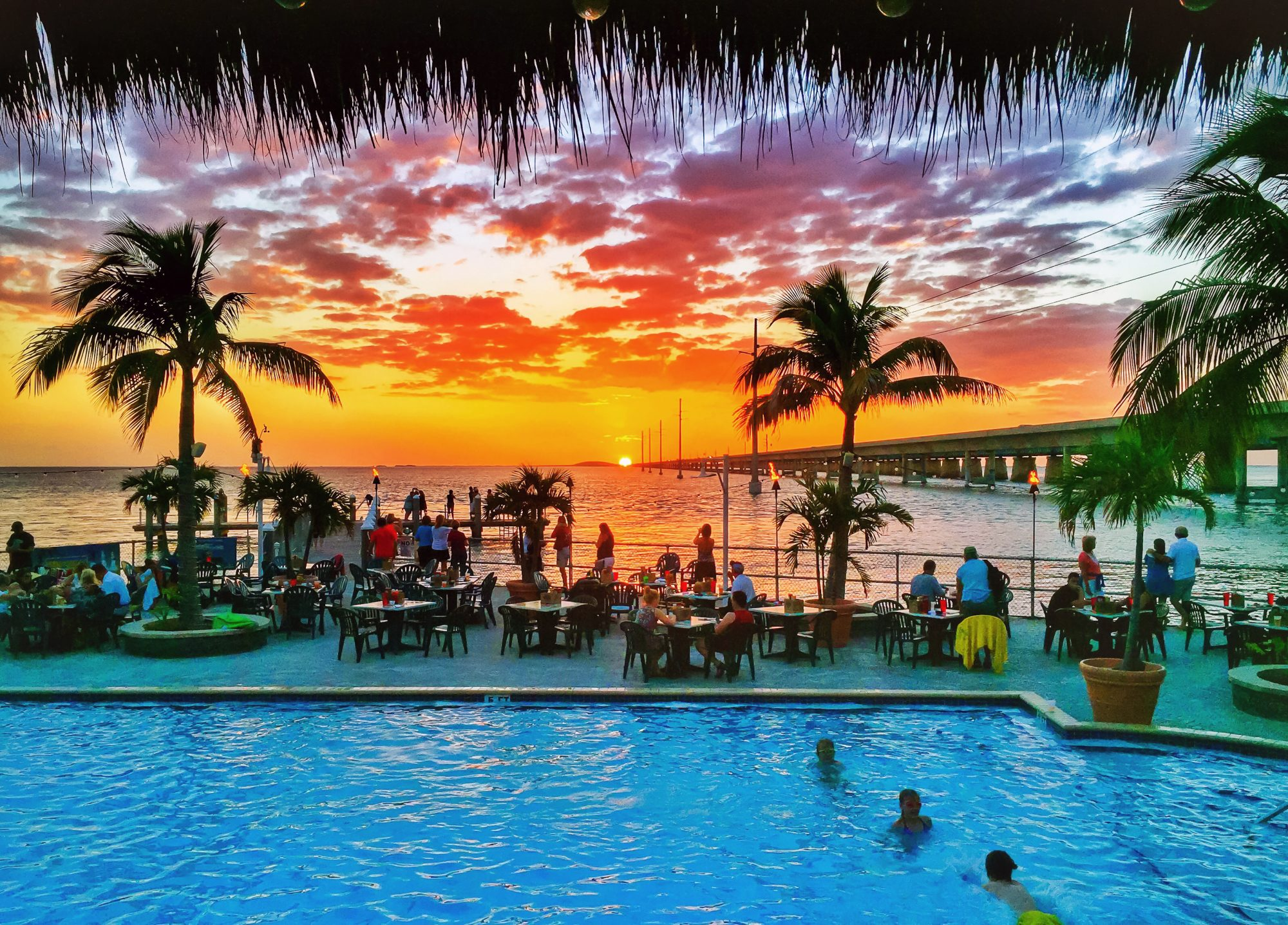Marathon, Fl -- One of the best water views in the state during sunset is from the Sunset Grill & Bar in Marathon, Fl. Photo by Peter W Cross