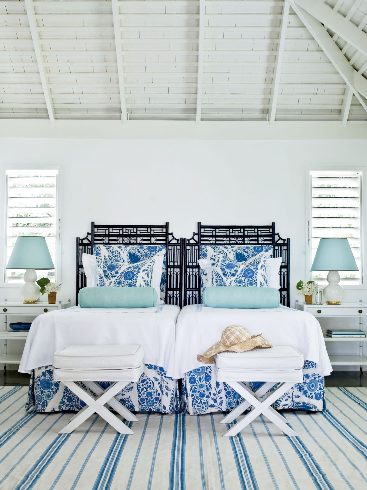 Re-create the effortless beauty of the islands by mixing variations of blues and pops of prints throughout a room.