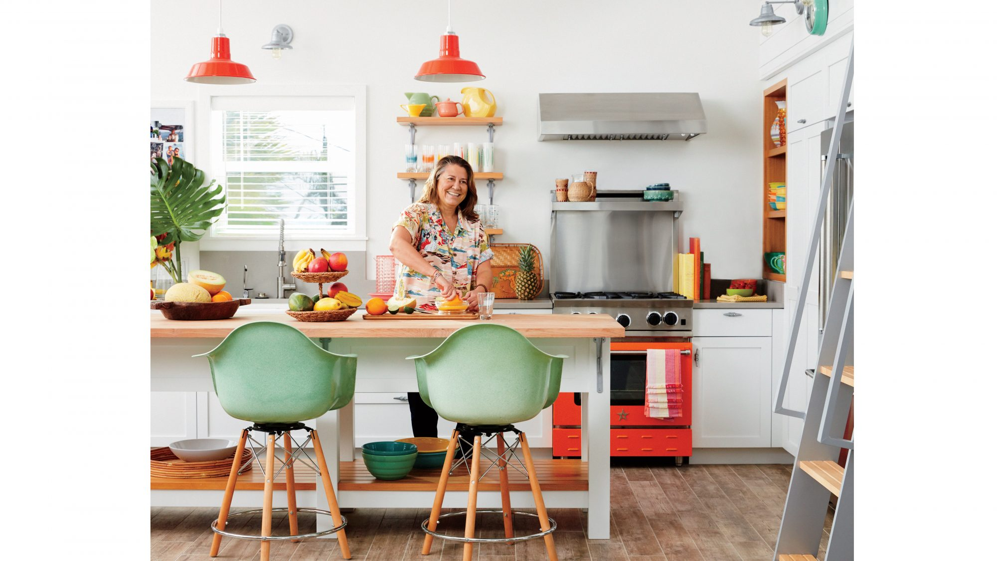 Natural kitchen with pops of color