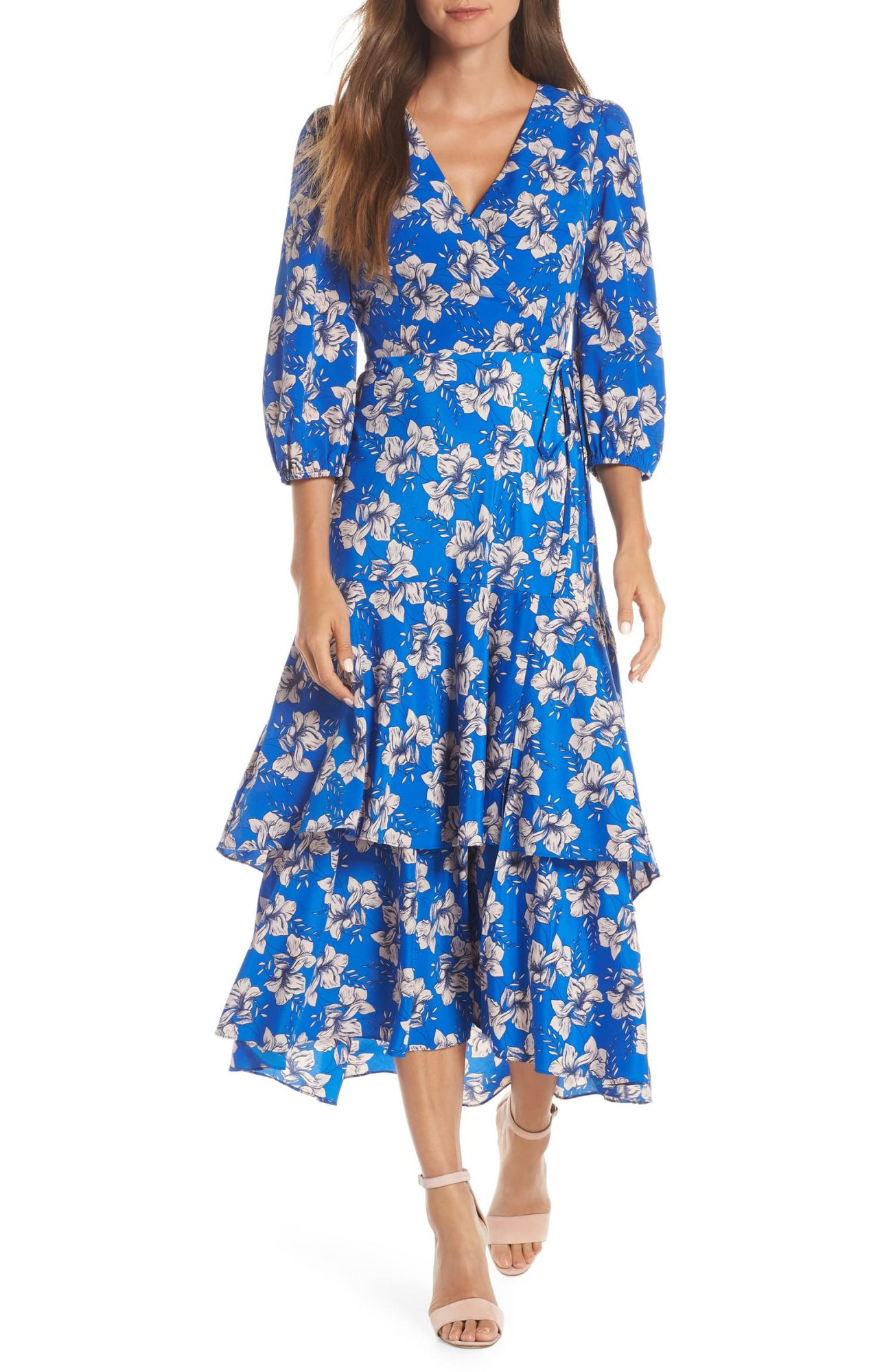 Eliza J Faux Wrap Maxi Dress in Blue