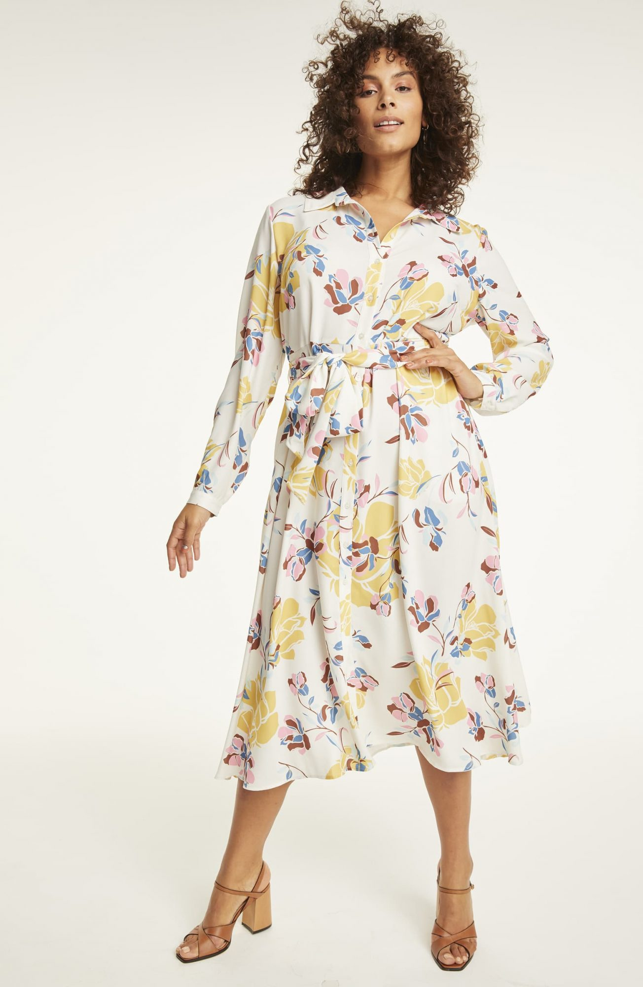 Halogen Long Sleeve Midi Shirtdress