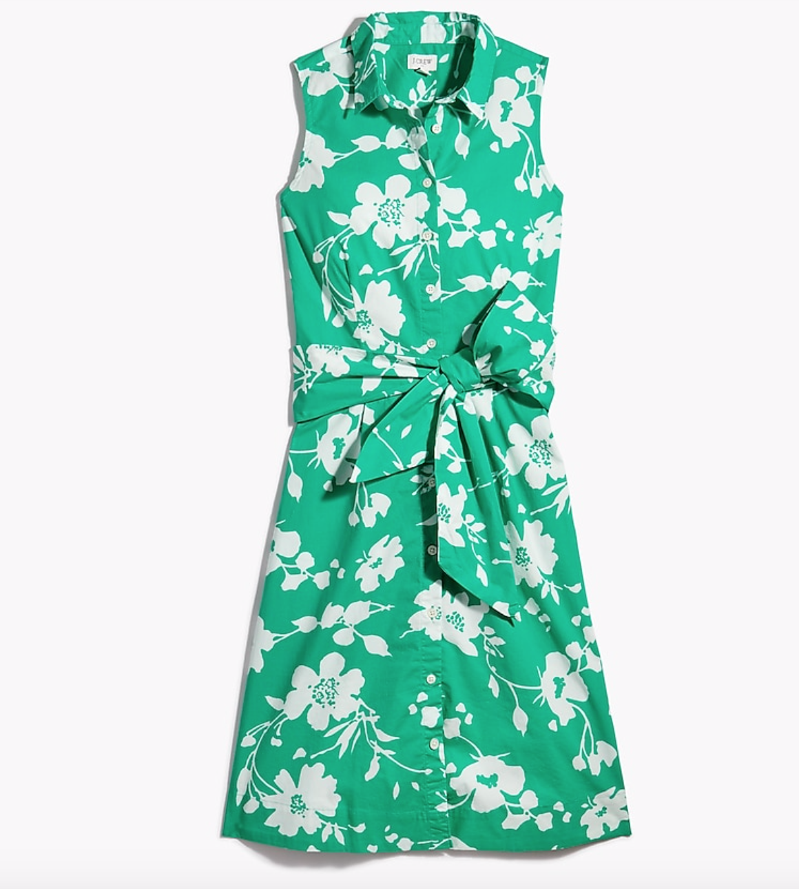 Sleeveless Tie-Waist Shirtdress in Florence Floral Green Ivy