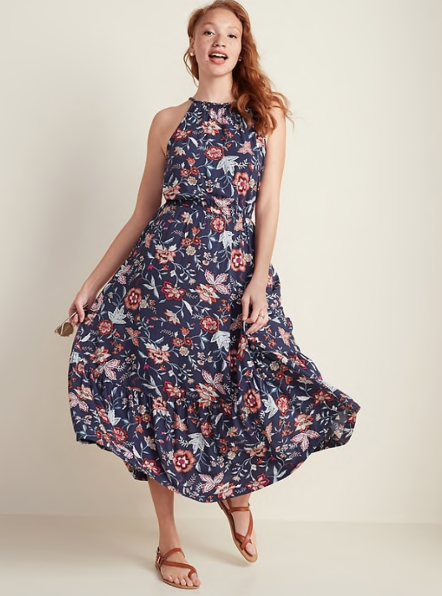 Old Navy Waist-Defined Braided-Strap Maxi Sundress in Navy Floral