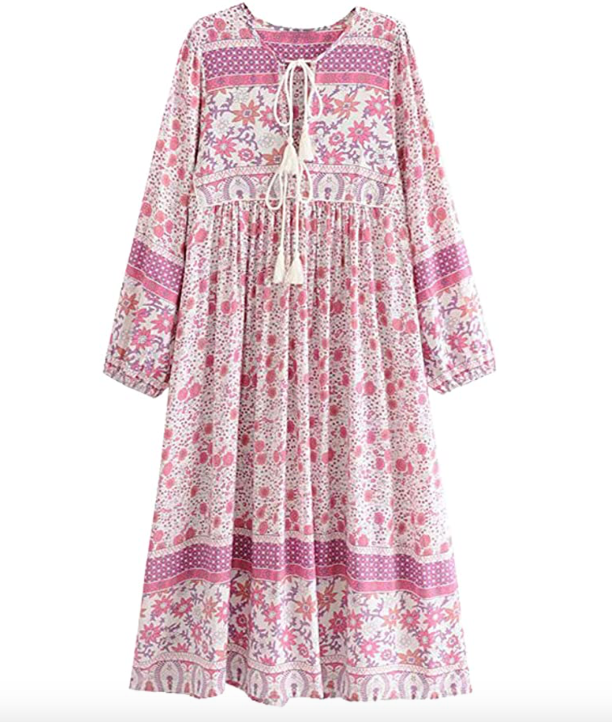 R Vivimos Womens Long Sleeve Floral Print V Neck Bohemian Midi Dress