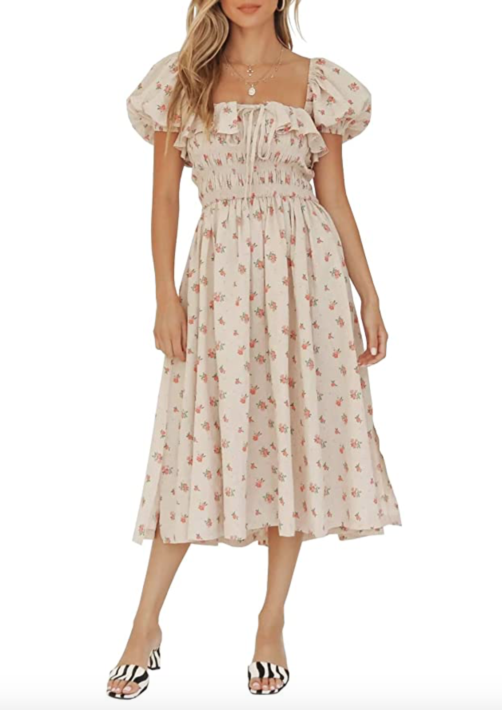R.Vivimos Womens Summer Floral Print Puff Sleeves Vintage Ruffles Midi Dress
