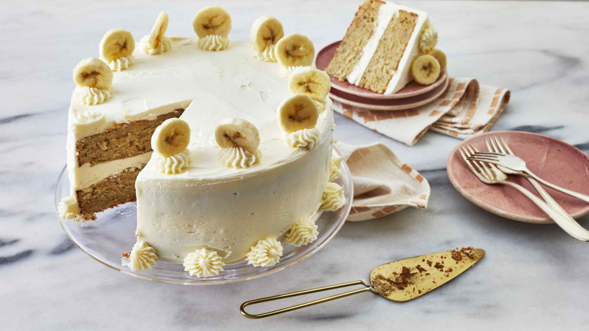 Bananas Foster Cake with Rum Buttercream