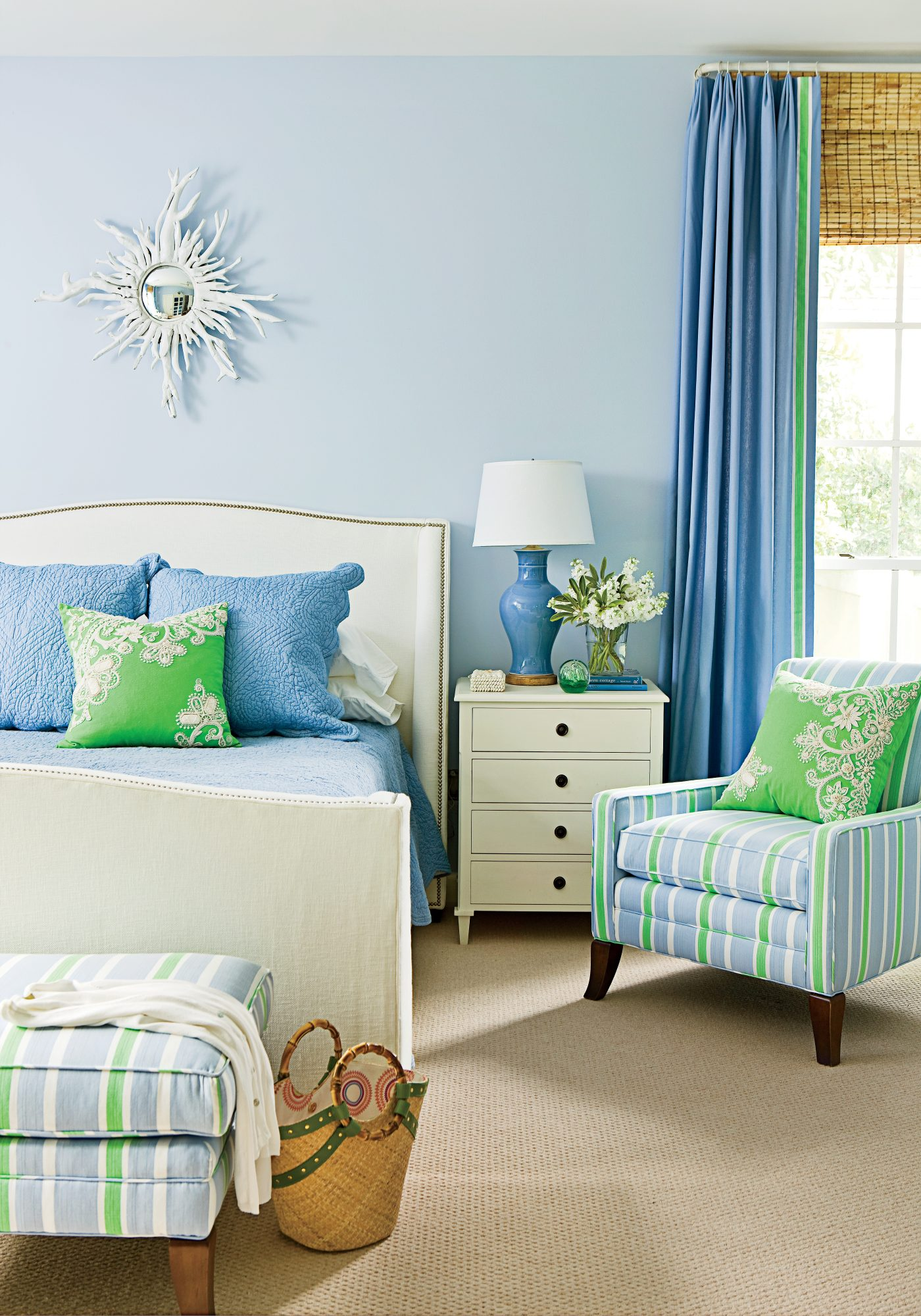 A lively green accent pillow was the inspiration for this Florida bedroom's pretty palette. (See more of this pretty beach house.) With an eye to toning down the vivid neon hue, designer Phoebe Howard introduced calming shades of white and a mix of lighte