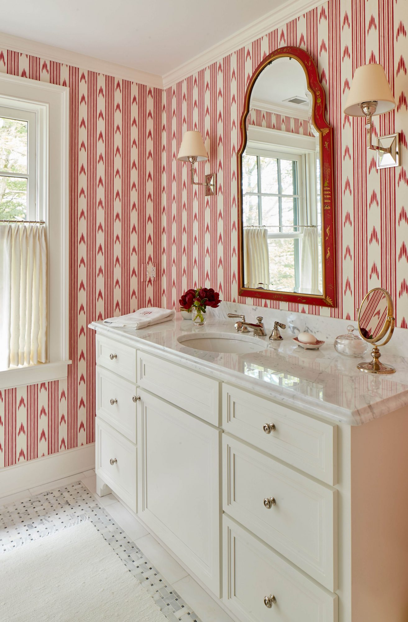 Red Ikat Pattern Wallpaper in Bathroom of Mountain House