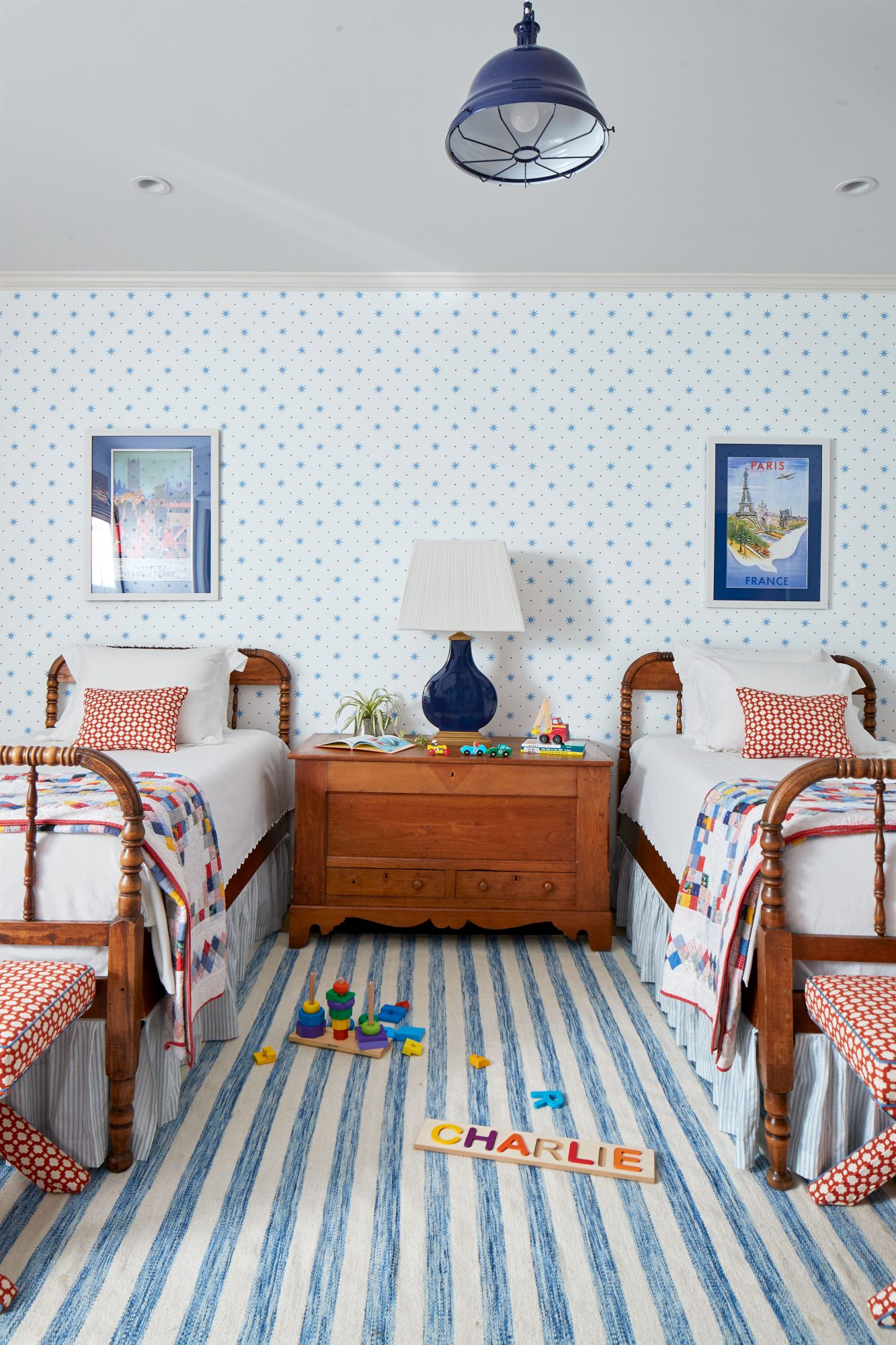 Child's Bedroom in Basement of Mountain House with Blue and White Striped Rug