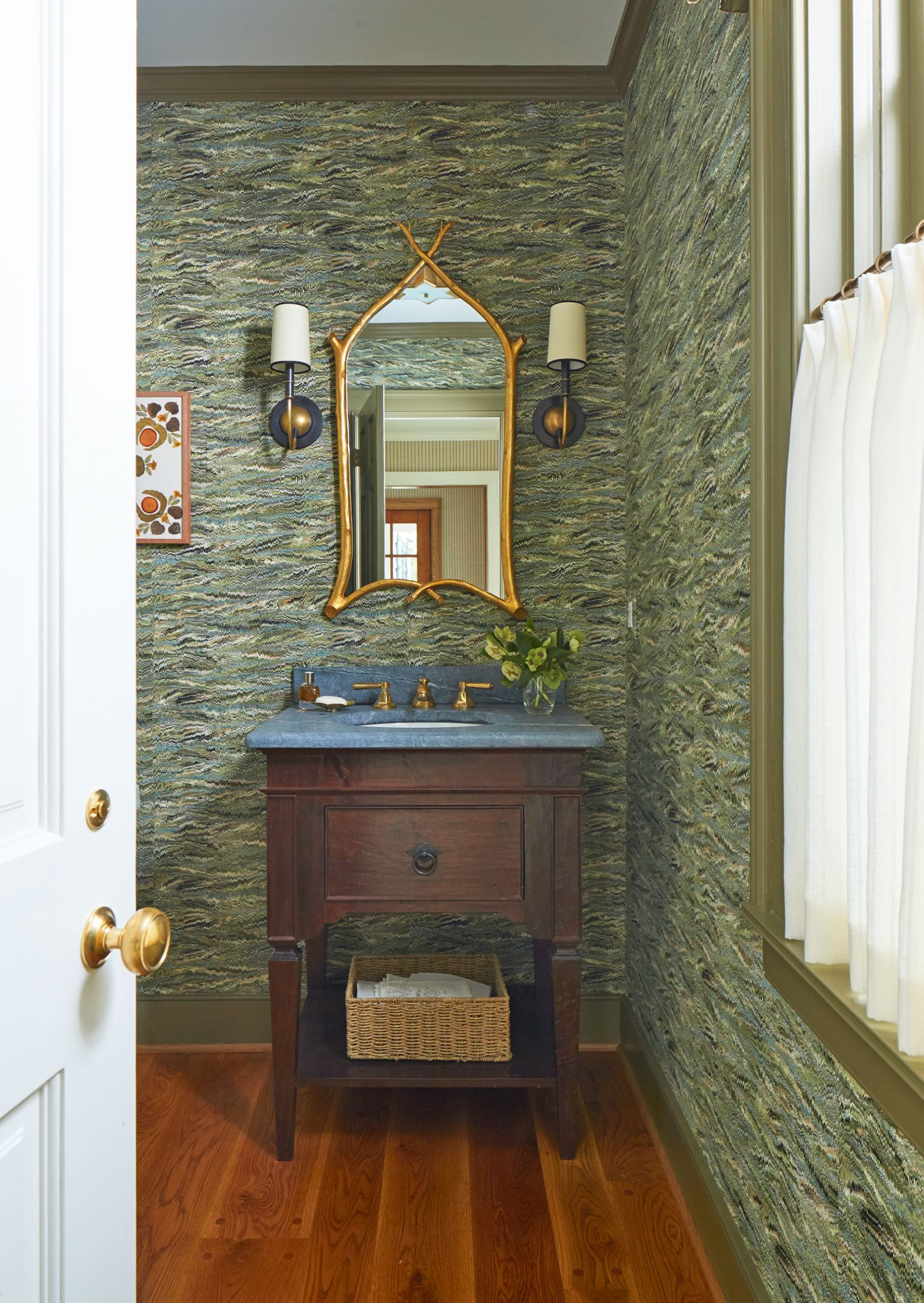 Mountain House Powder Room with Green Wallpaper Walls
