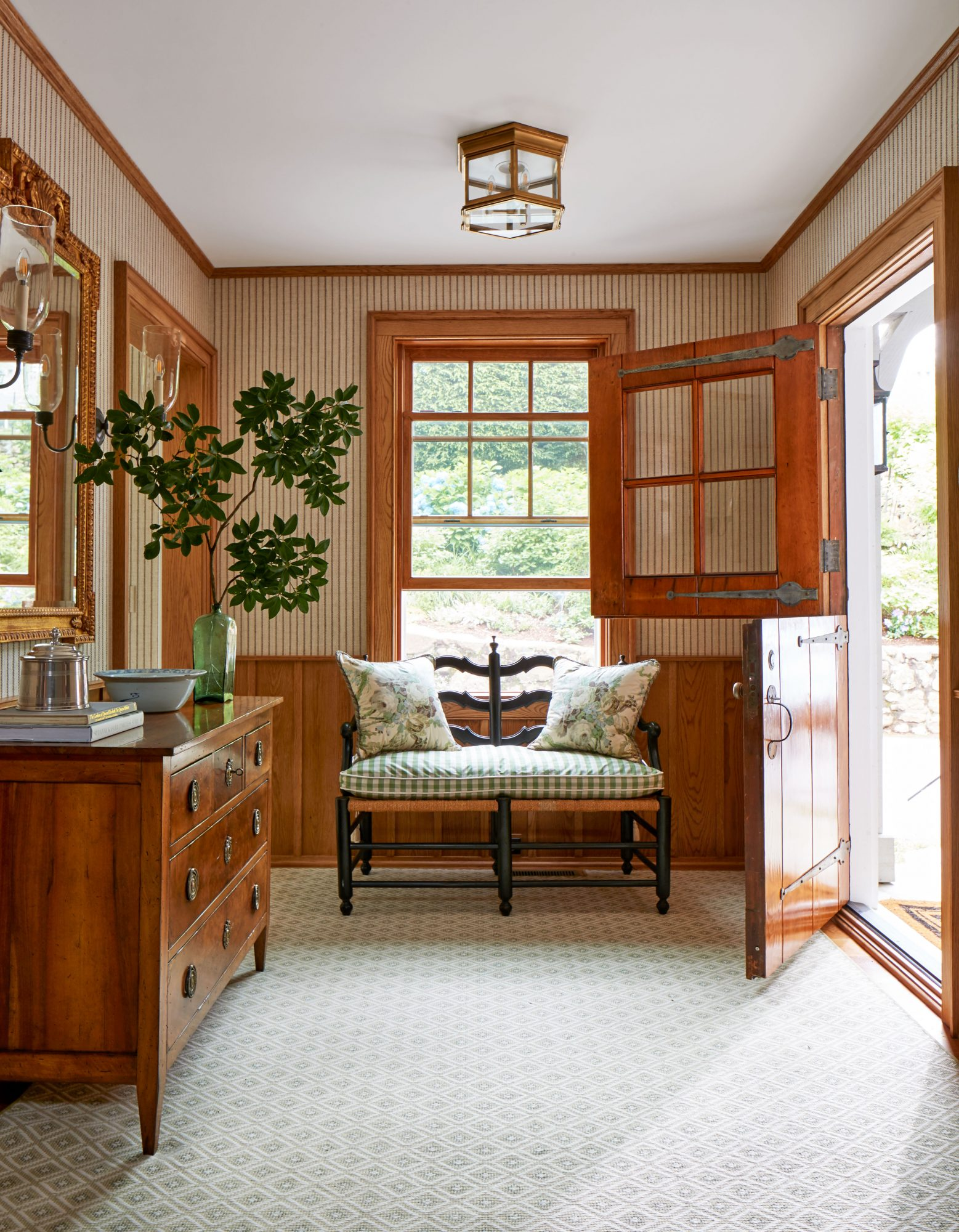 1929 Mountain House Entry Hall with Striped Wallpaper and Dutch Door