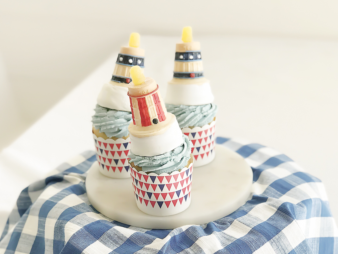 Dreamsicle Cupcakes with Lighthouse Ice Cream Cones