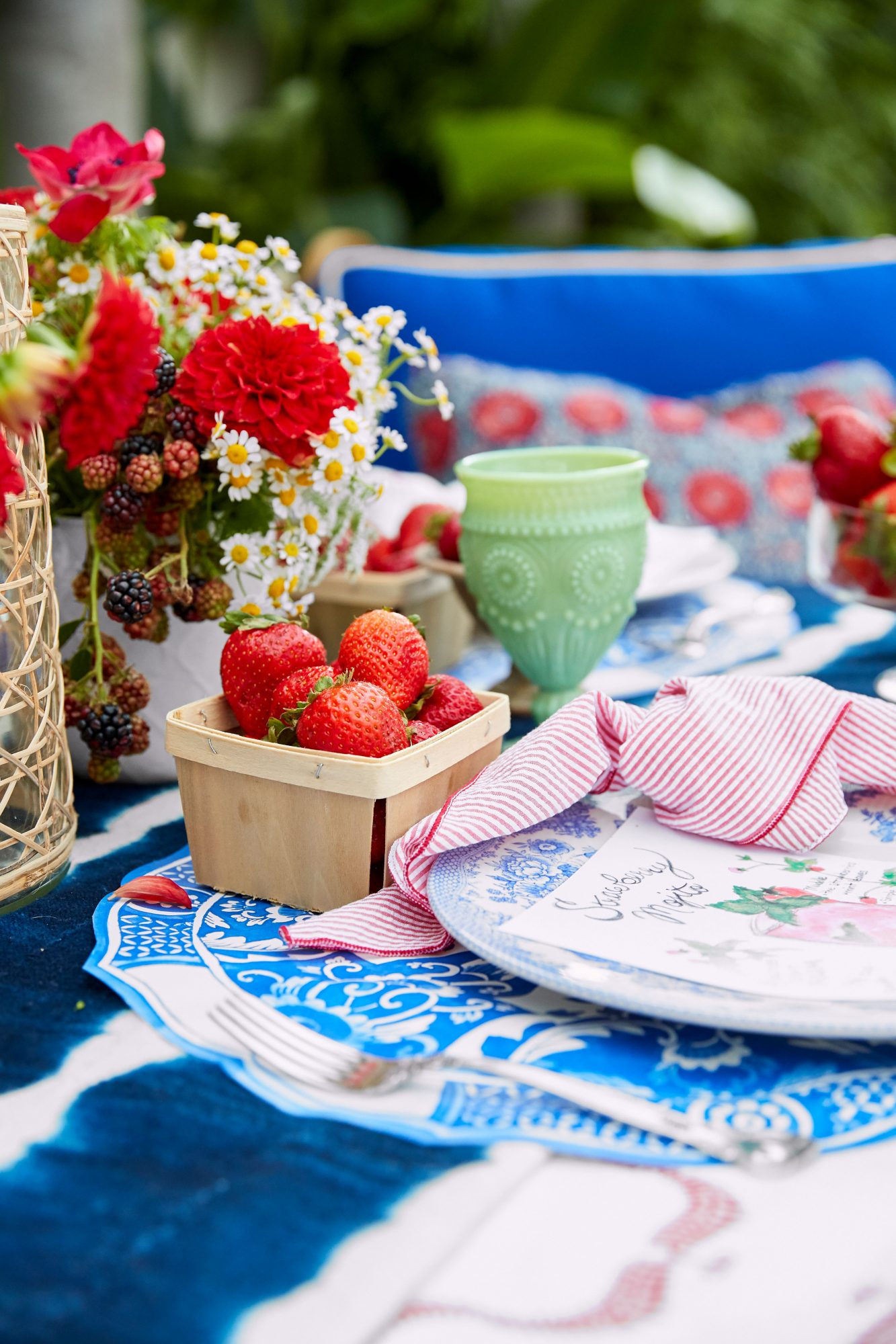 4th of July Party Table Setting with Fresh Strawberries