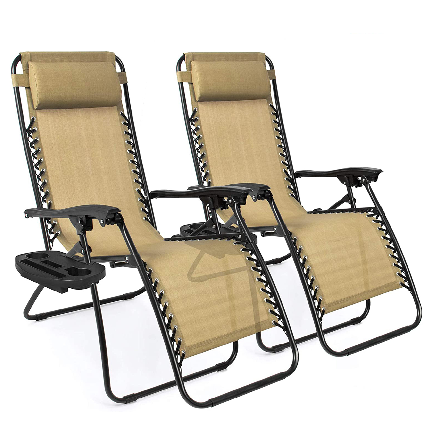 Best Choice Products Set of 2 Adjustable Steel Mesh Zero Gravity Lounge Chair Recliners w/Pillows