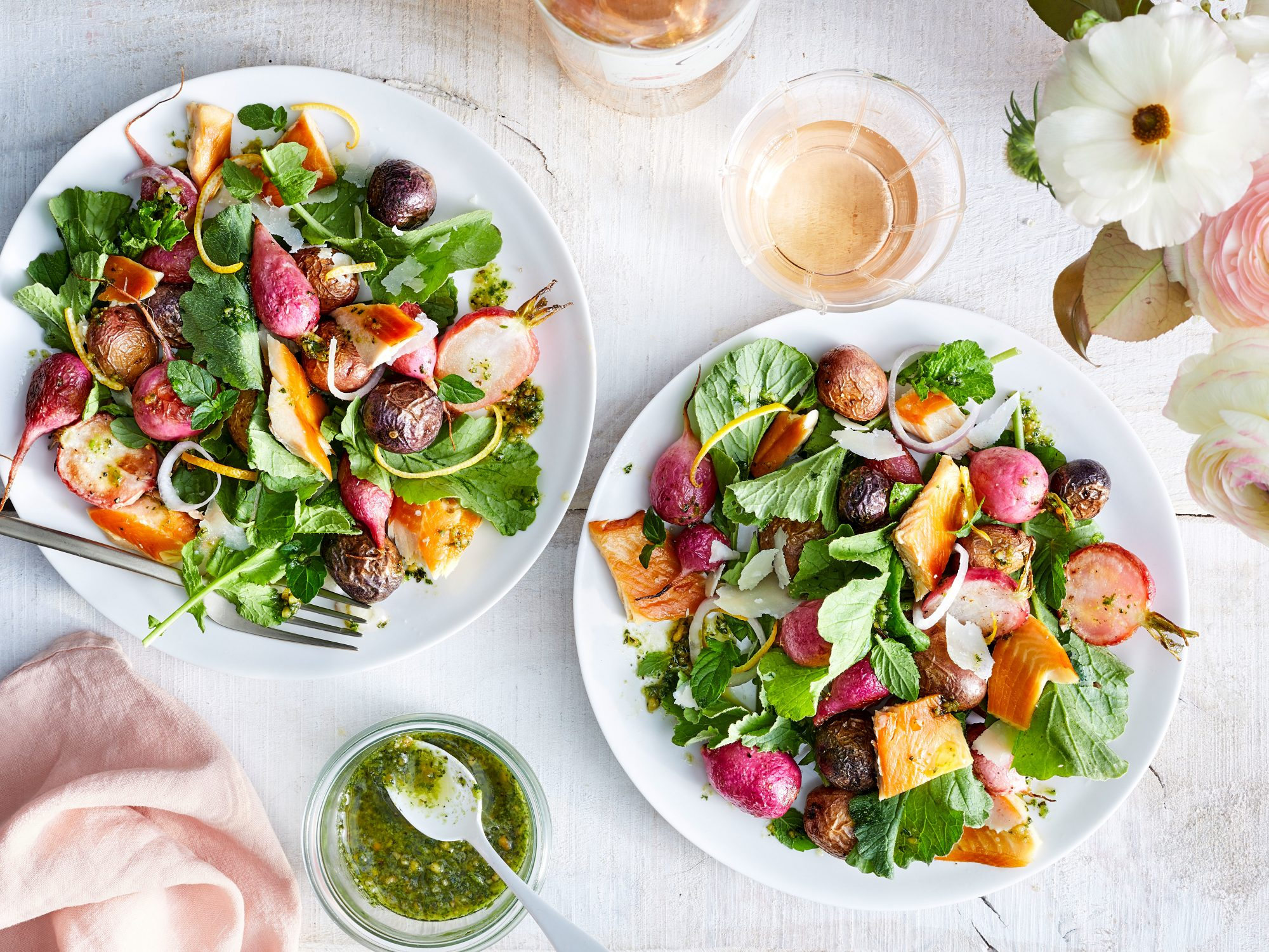 Warm Radish-and-Potato Salad with Smoked Trout and Radish Leaf-and-Mint Pesto